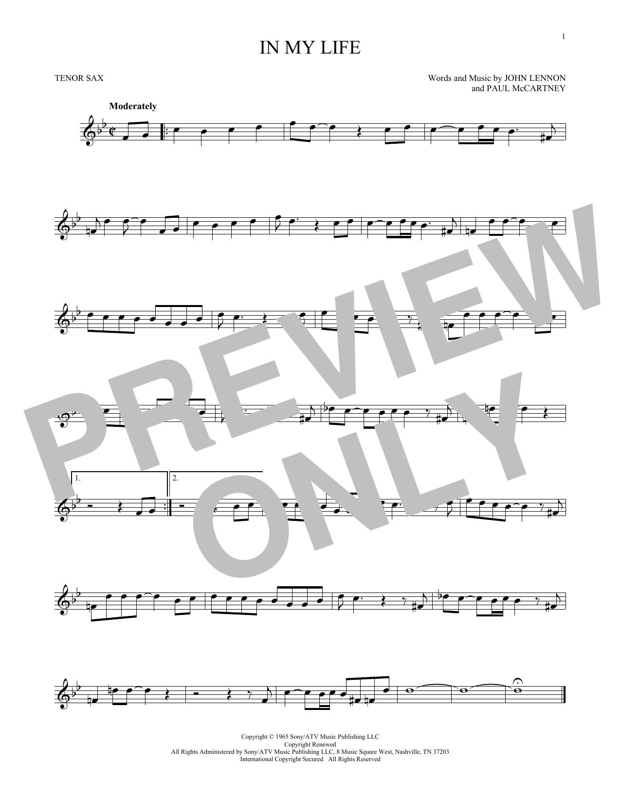 Partition saxophone In My Life de The Beatles - Sax Tenor