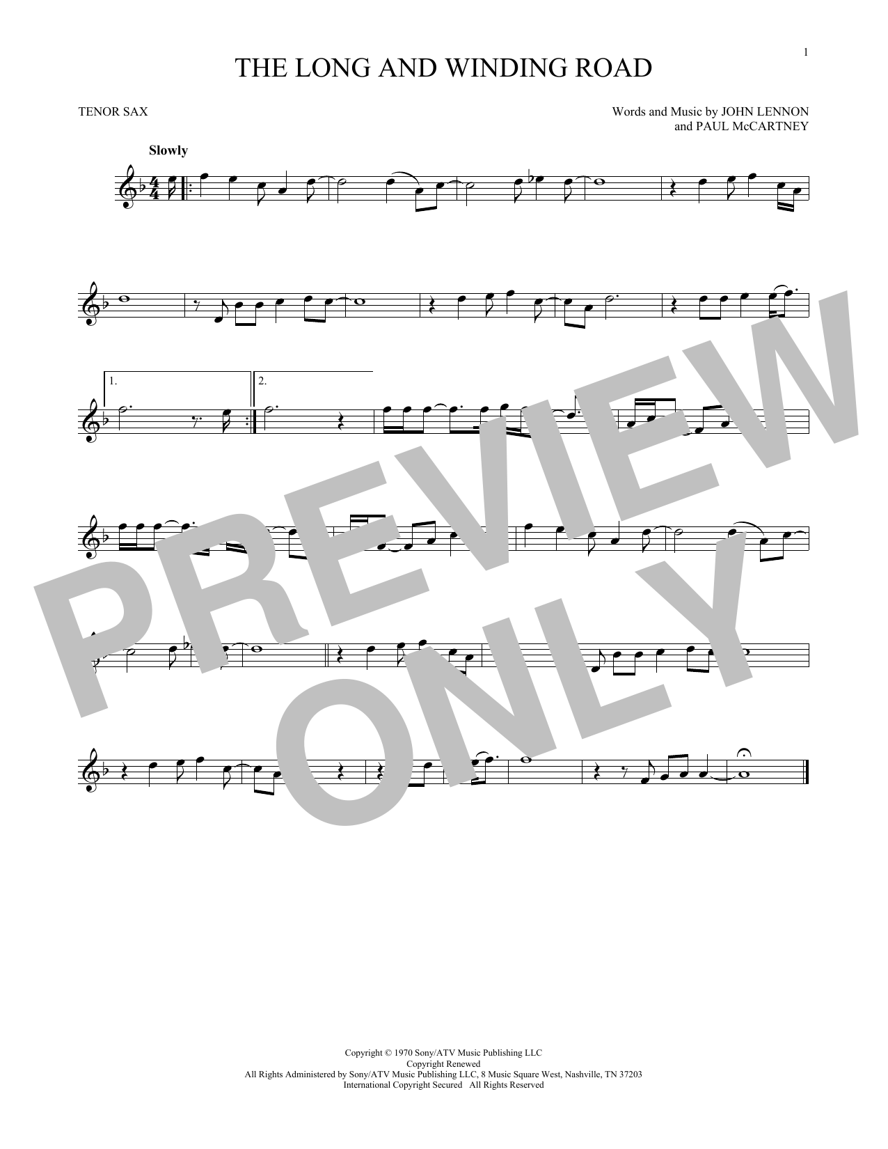 Partition saxophone The Long And Winding Road de The Beatles - Sax Tenor