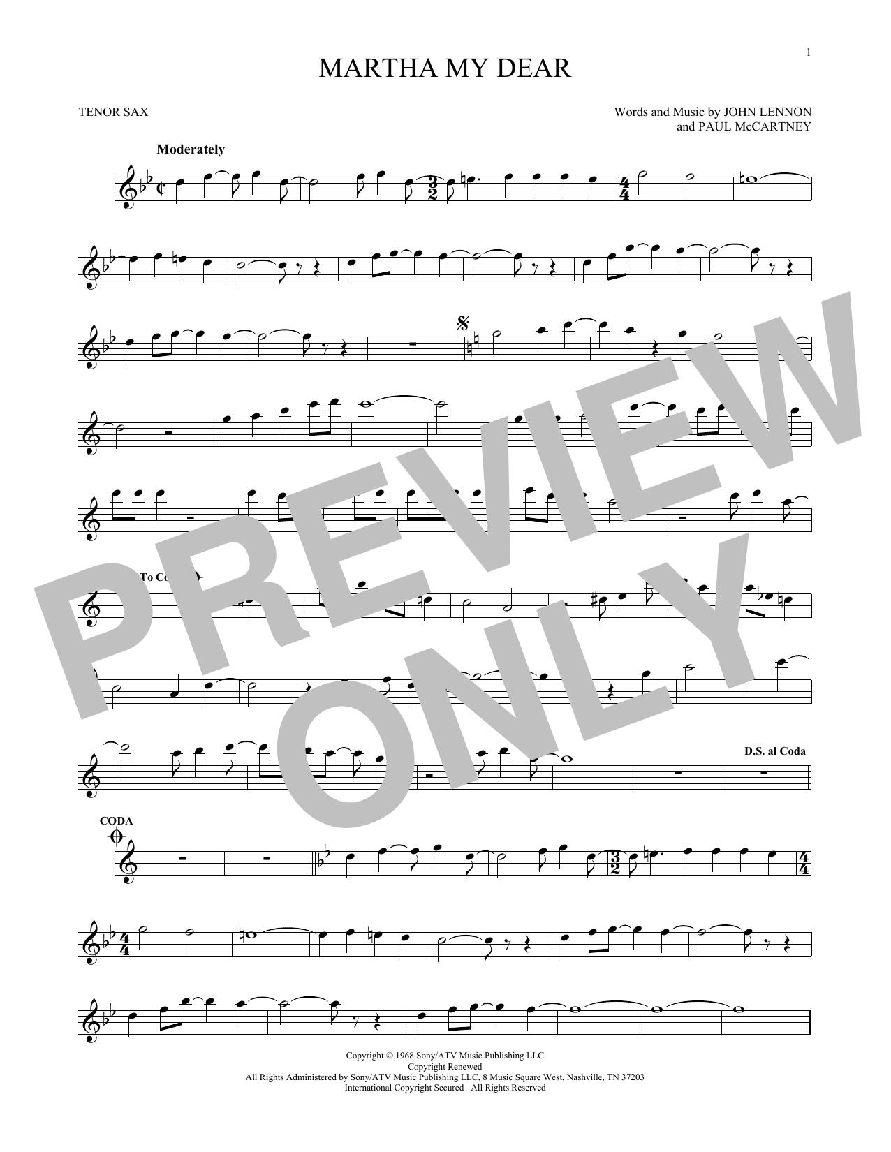 Partition saxophone Martha My Dear de The Beatles - Sax Tenor