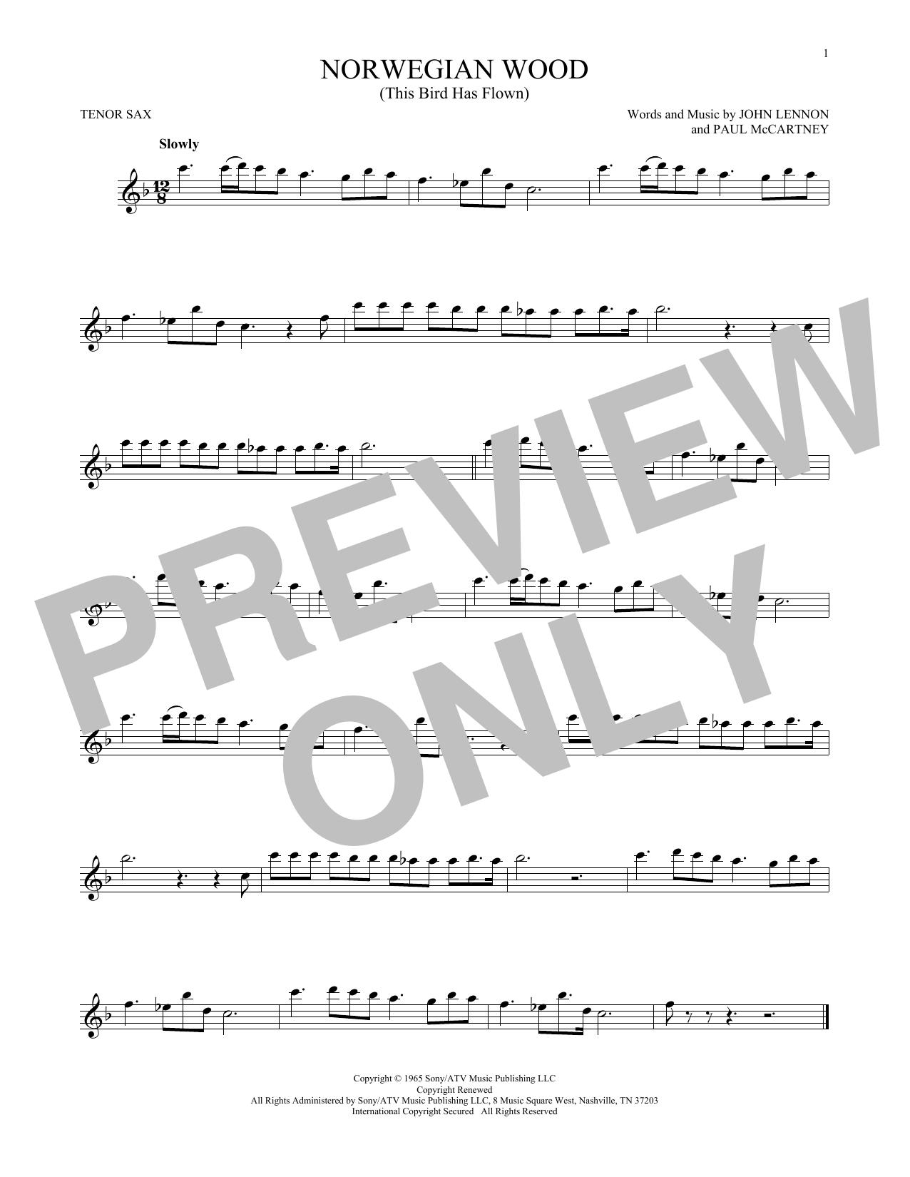 Partition saxophone Norwegian Wood (This Bird Has Flown) de The Beatles - Sax Tenor