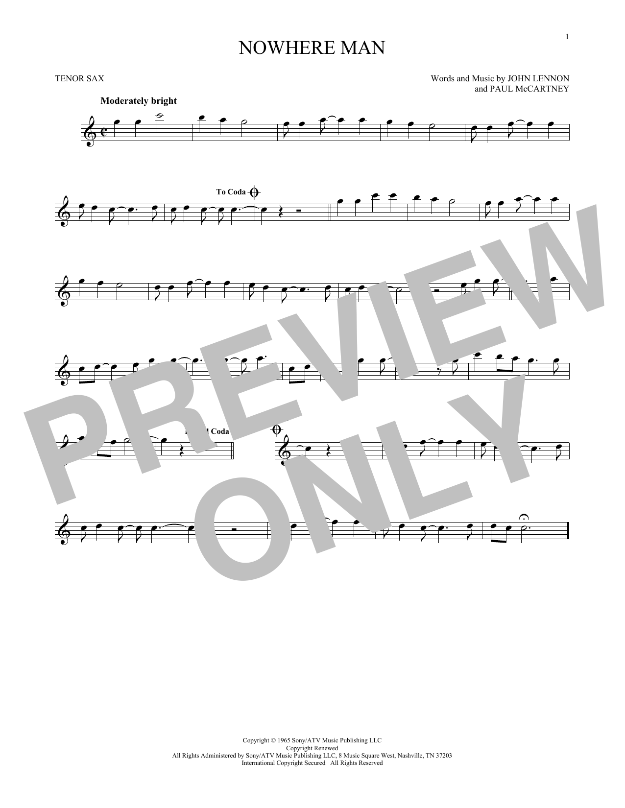 Partition saxophone Nowhere Man de The Beatles - Sax Tenor