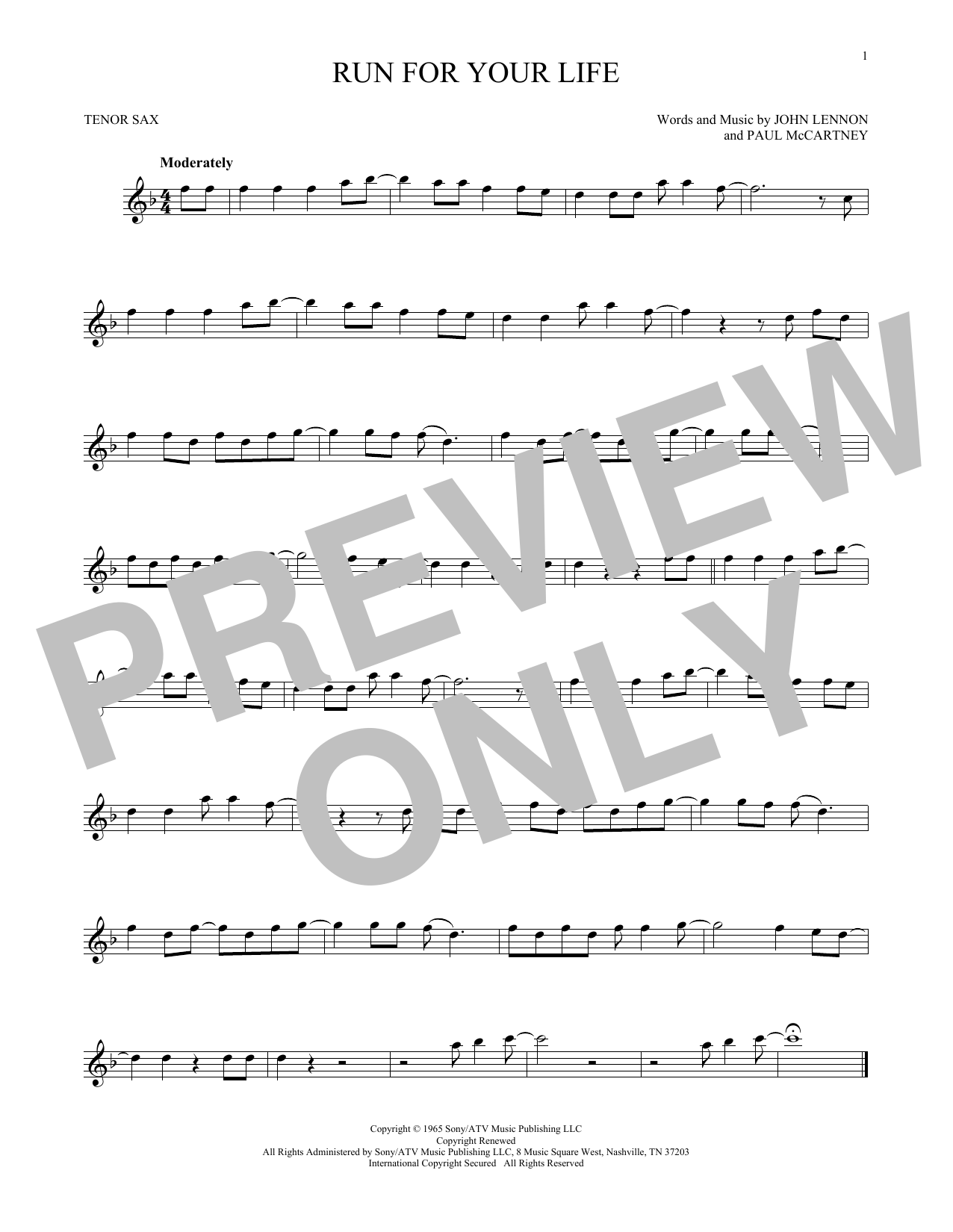 Partition saxophone Run For Your Life de The Beatles - Sax Tenor