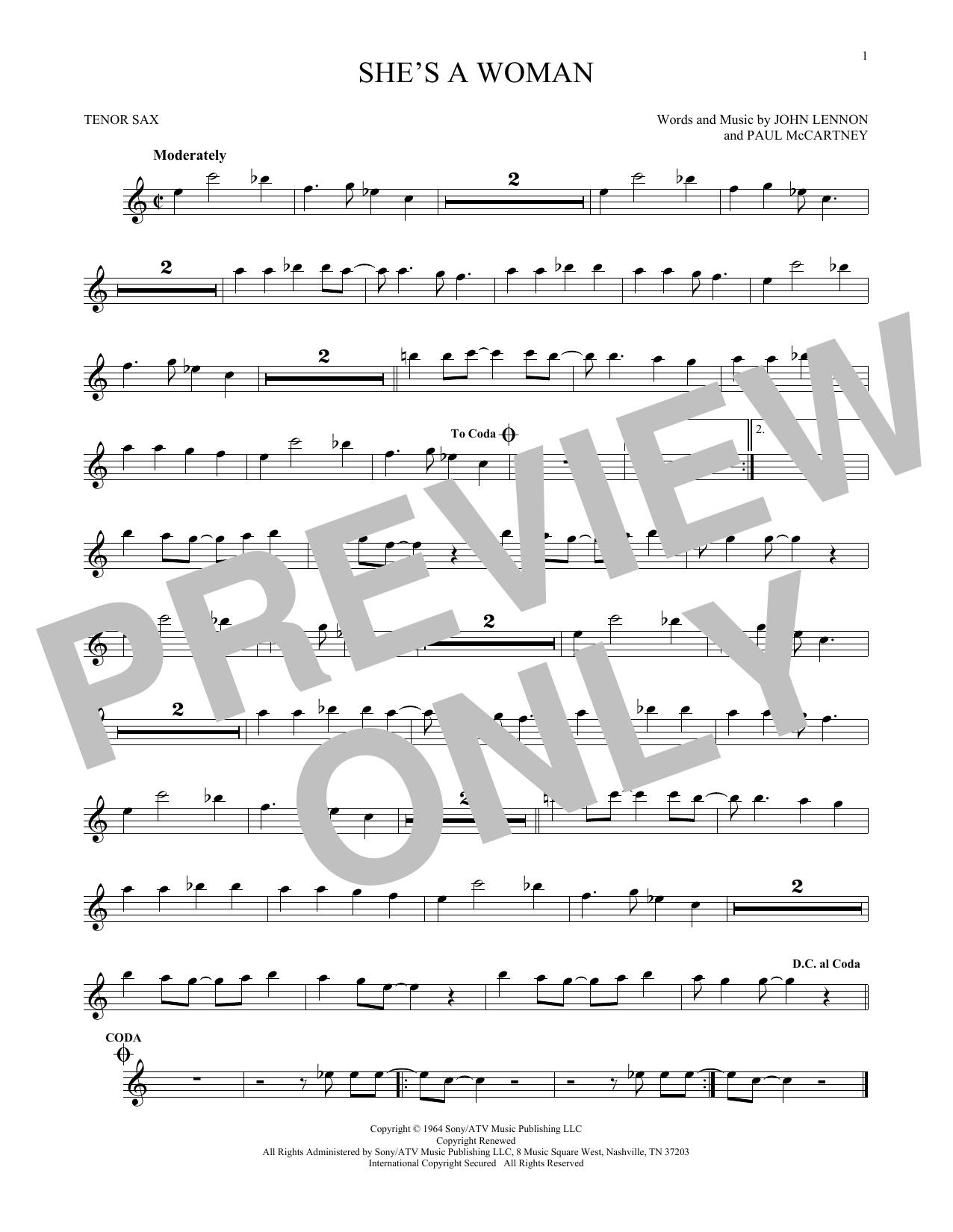 Partition saxophone She's A Woman de The Beatles - Sax Tenor
