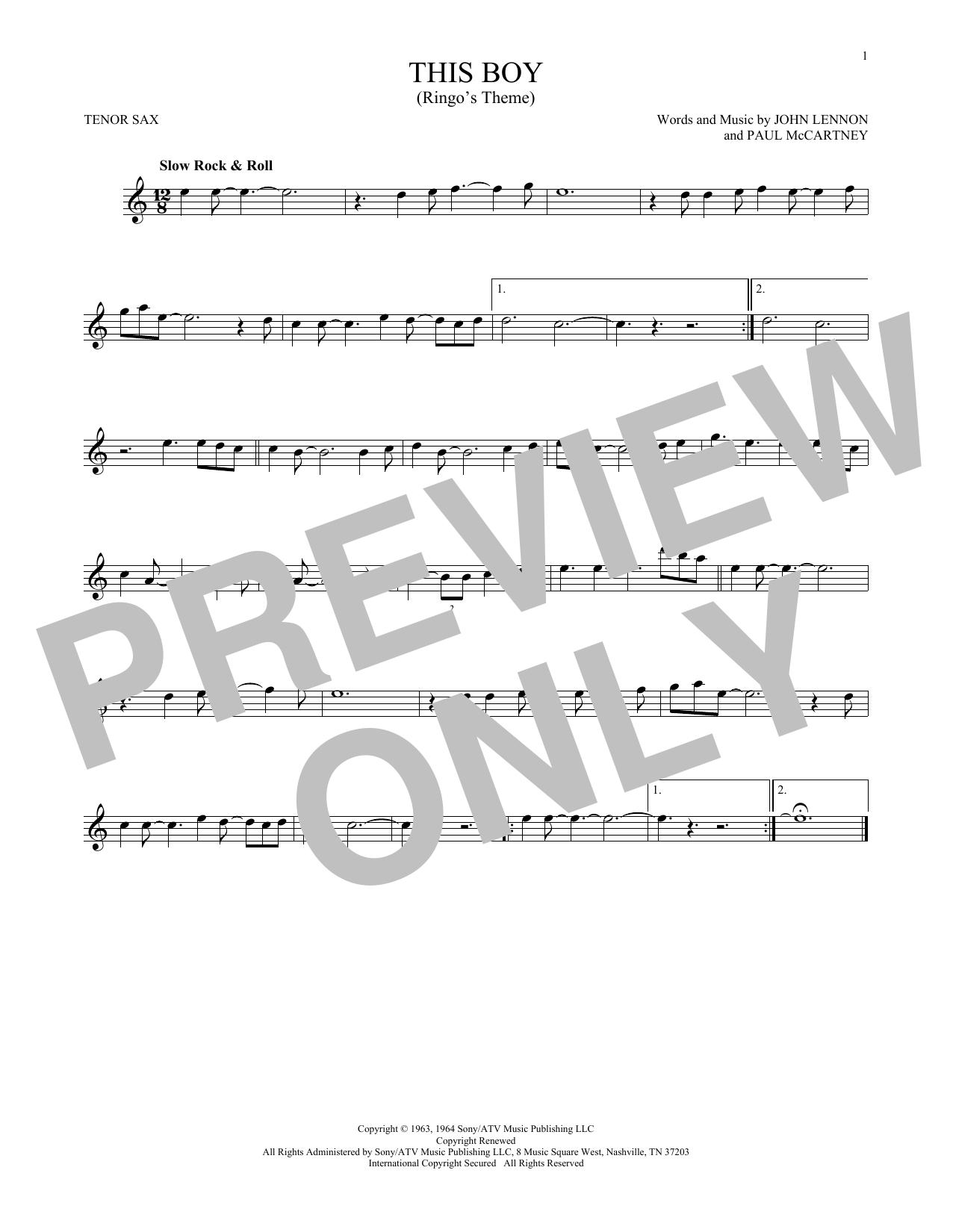 Partition saxophone This Boy (Ringo's Theme) de The Beatles - Sax Tenor