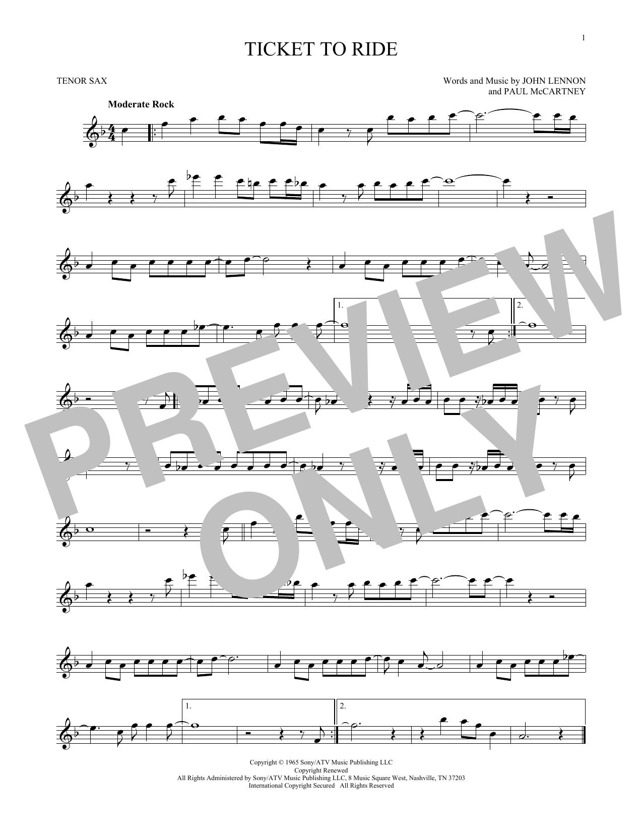 Partition saxophone Ticket To Ride de The Beatles - Sax Tenor