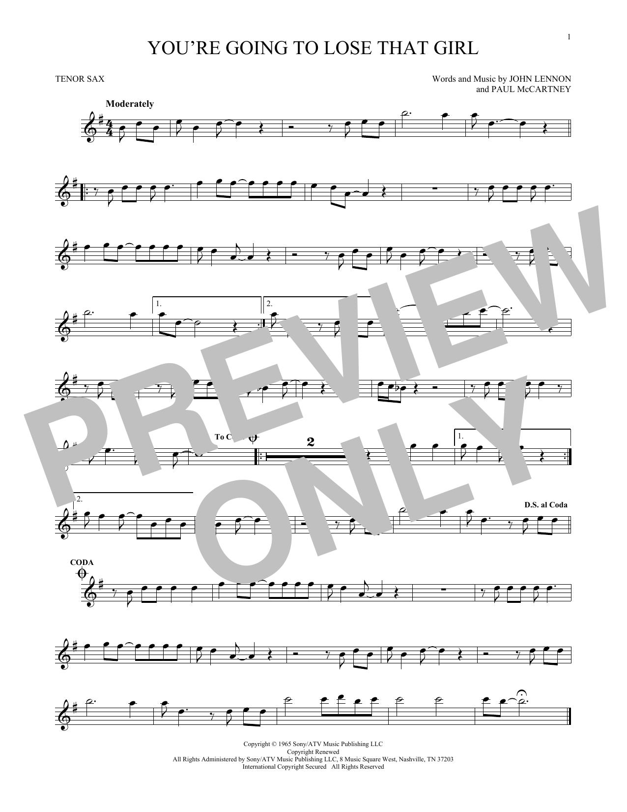 Partition saxophone You're Going To Lose That Girl de The Beatles - Sax Tenor