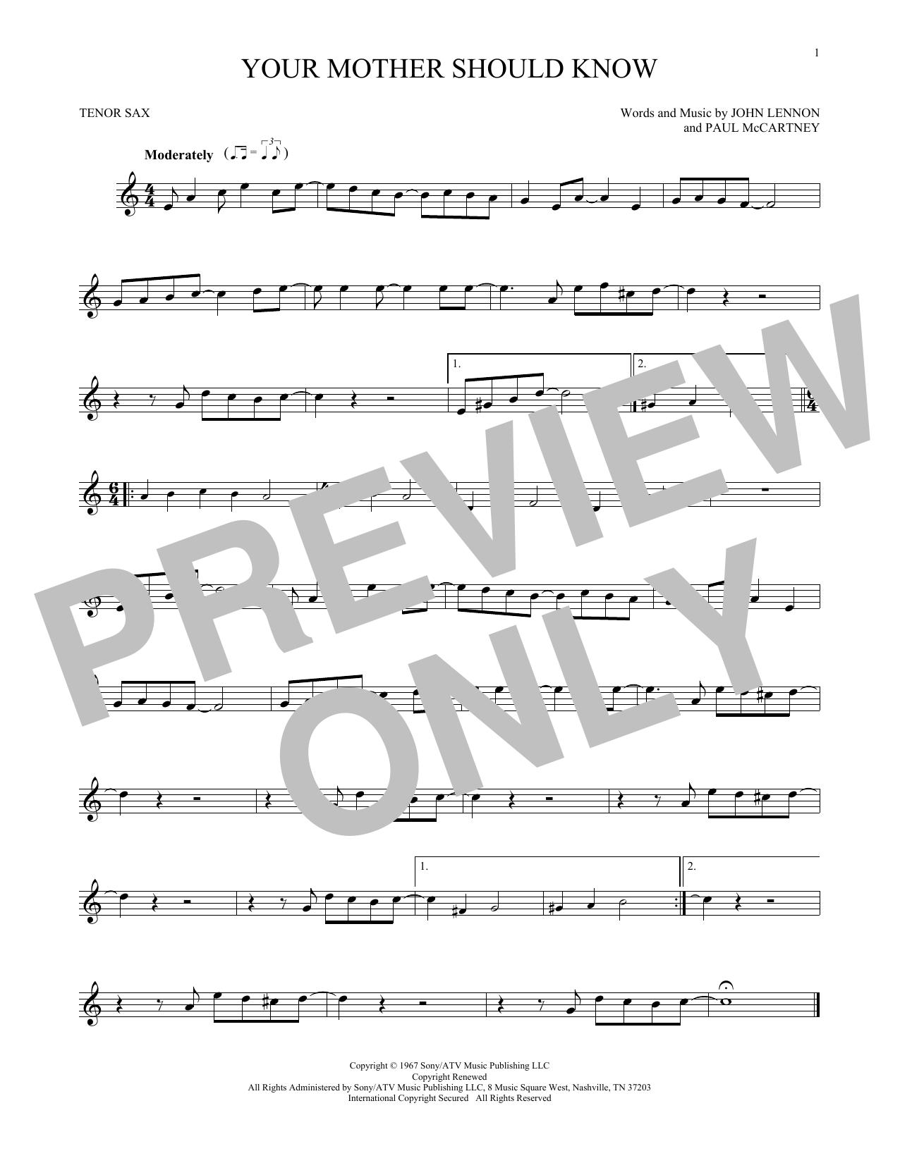Partition saxophone Your Mother Should Know de The Beatles - Sax Tenor