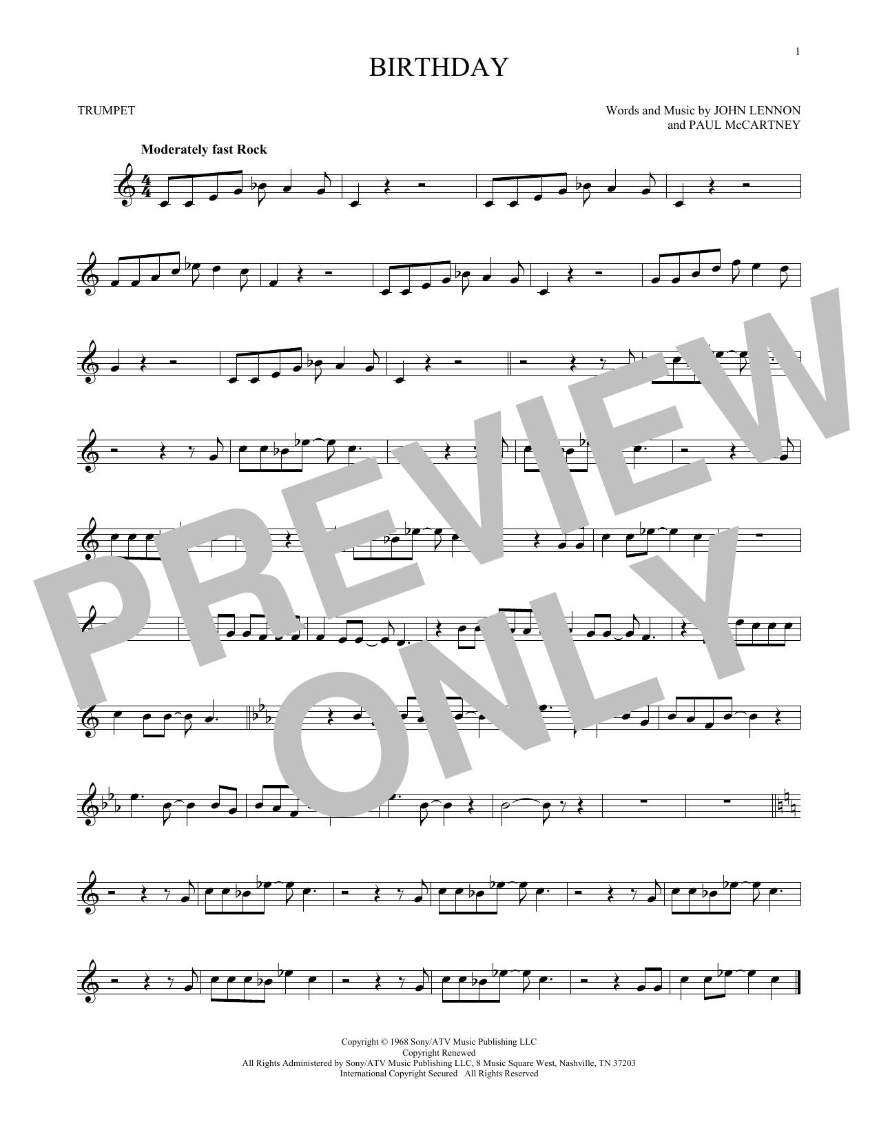Partition autre Birthday de The Beatles - Trompette