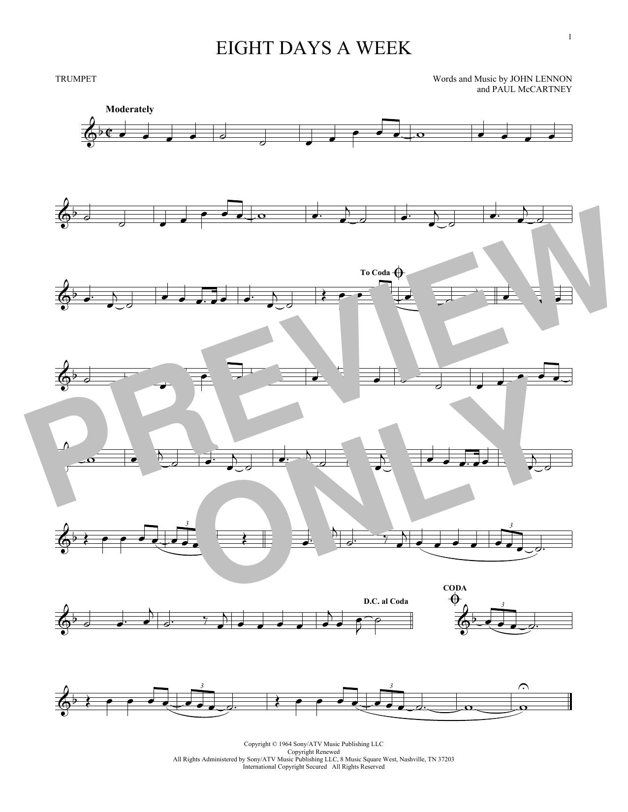 Partition autre Eight Days A Week de The Beatles - Trompette