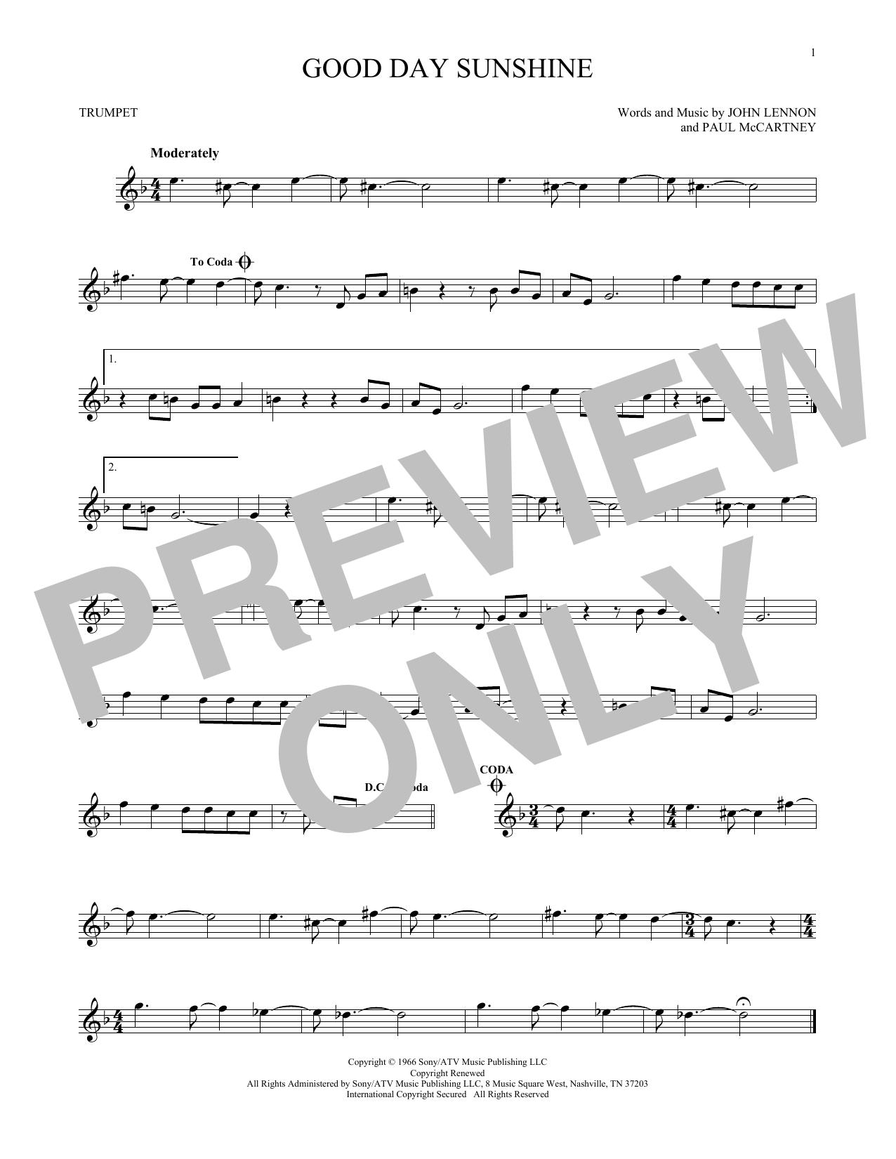 Partition autre Good Day Sunshine de The Beatles - Trompette