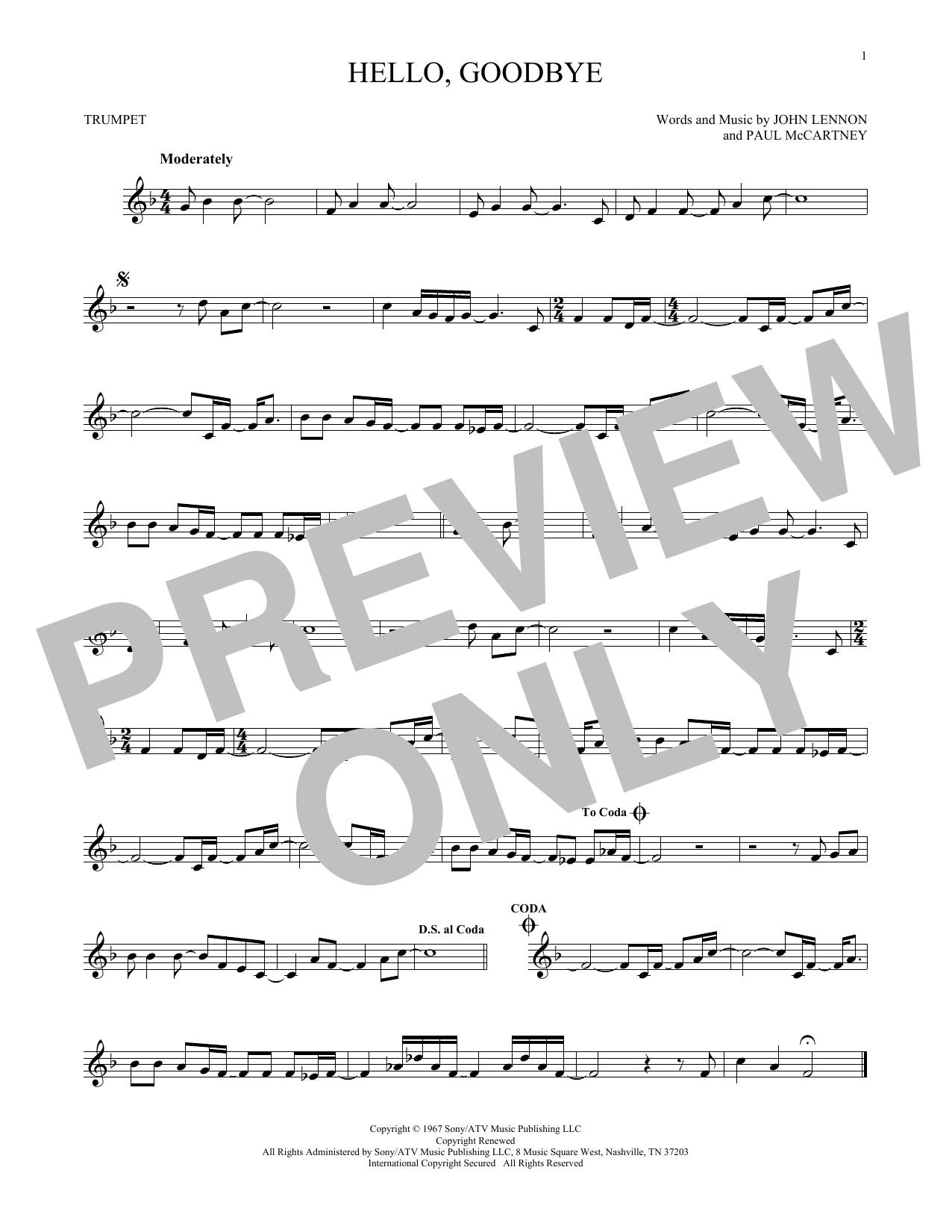 Partition autre Hello, Goodbye de The Beatles - Trompette