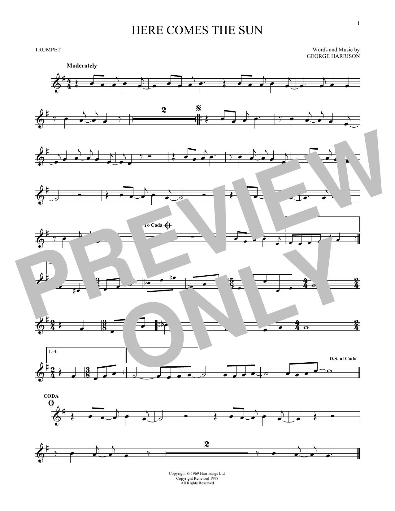 Partition autre Here Comes The Sun de The Beatles - Trompette