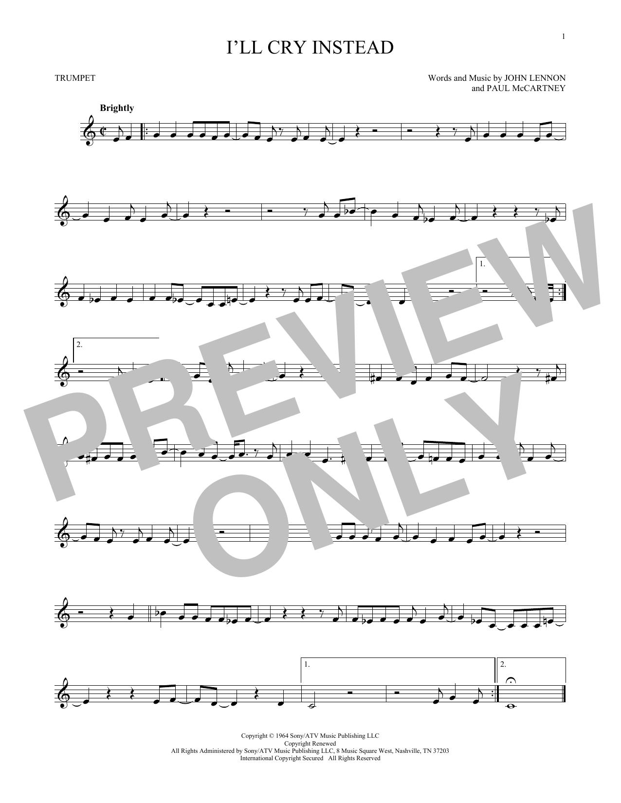 Partition autre I'll Cry Instead de The Beatles - Trompette