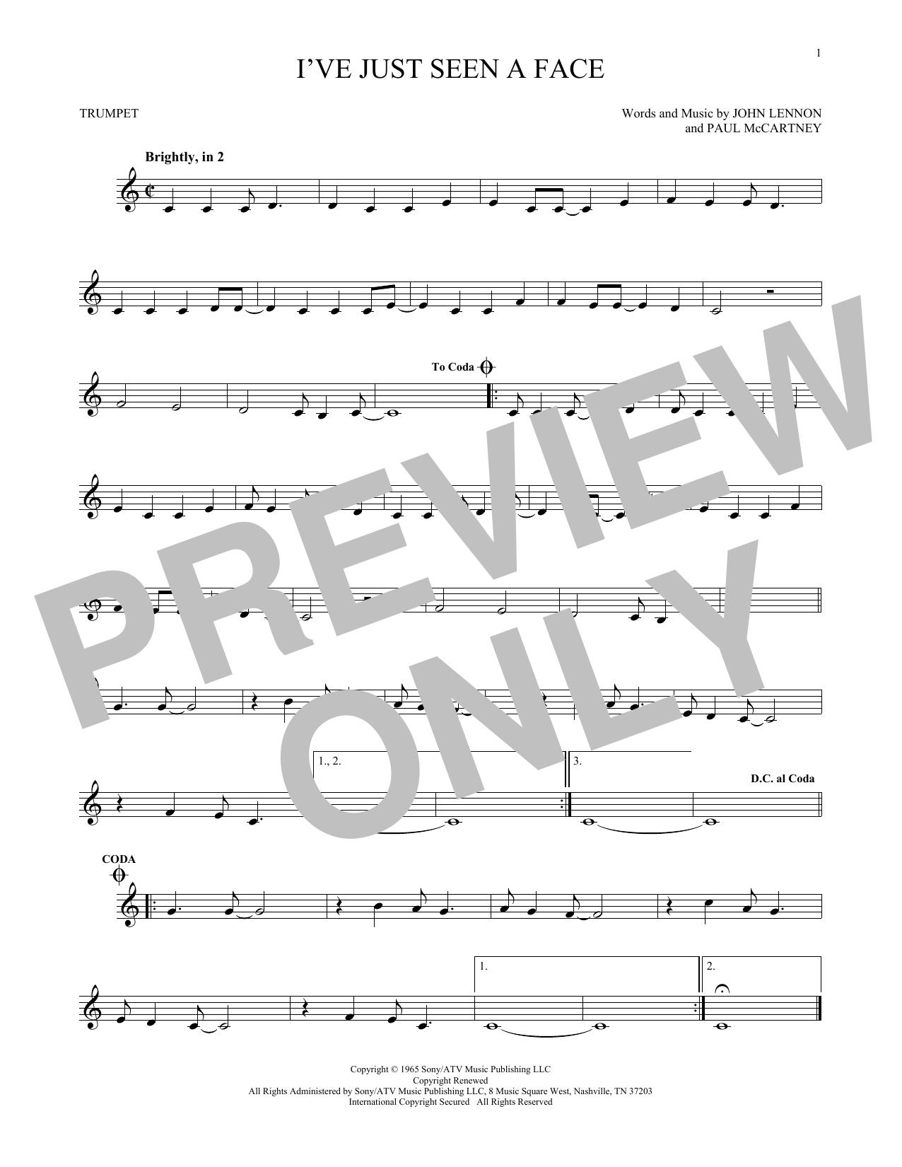 Partition autre I've Just Seen A Face de The Beatles - Trompette