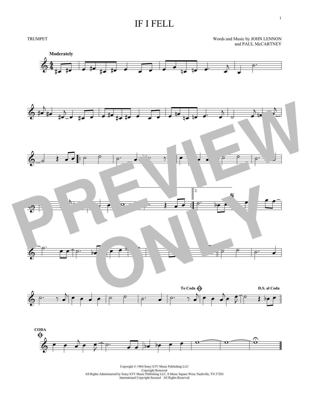 Partition autre If I Fell de The Beatles - Trompette