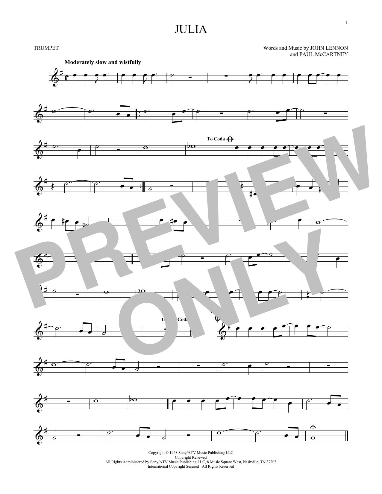 Partition autre Julia de The Beatles - Trompette