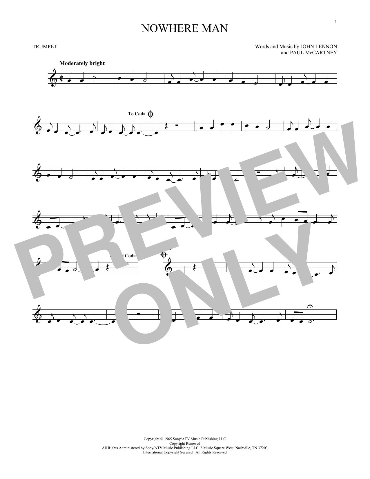 Partition autre Nowhere Man de The Beatles - Trompette