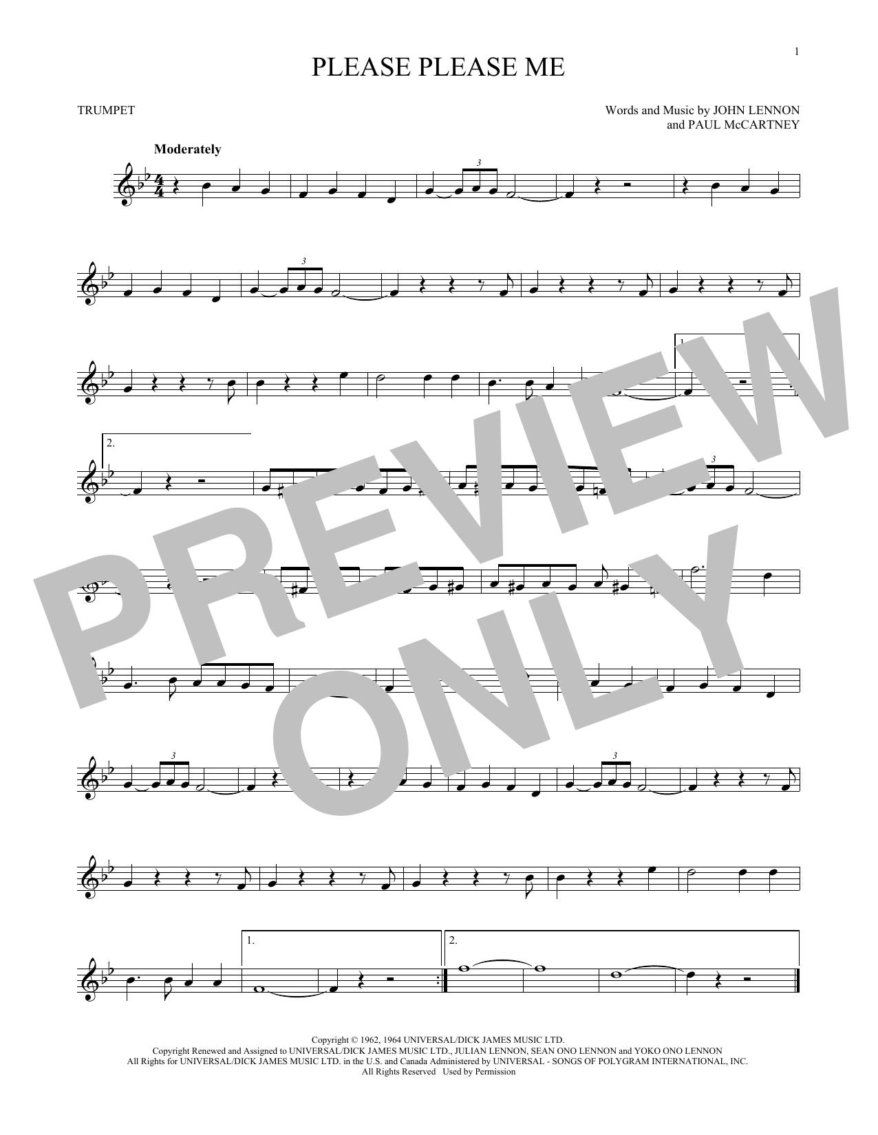 Partition autre Please Please Me de The Beatles - Trompette
