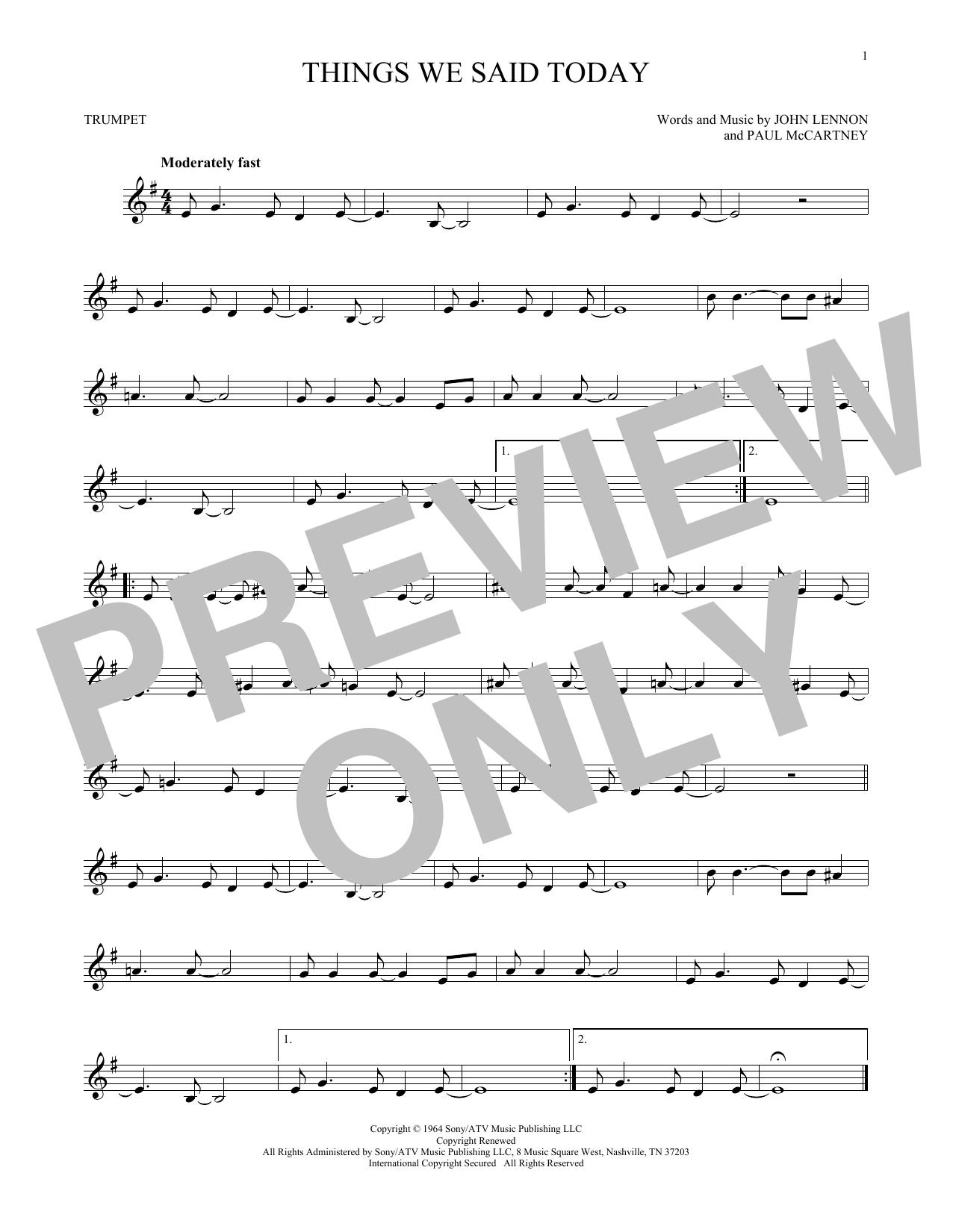 Partition autre Things We Said Today de The Beatles - Trompette