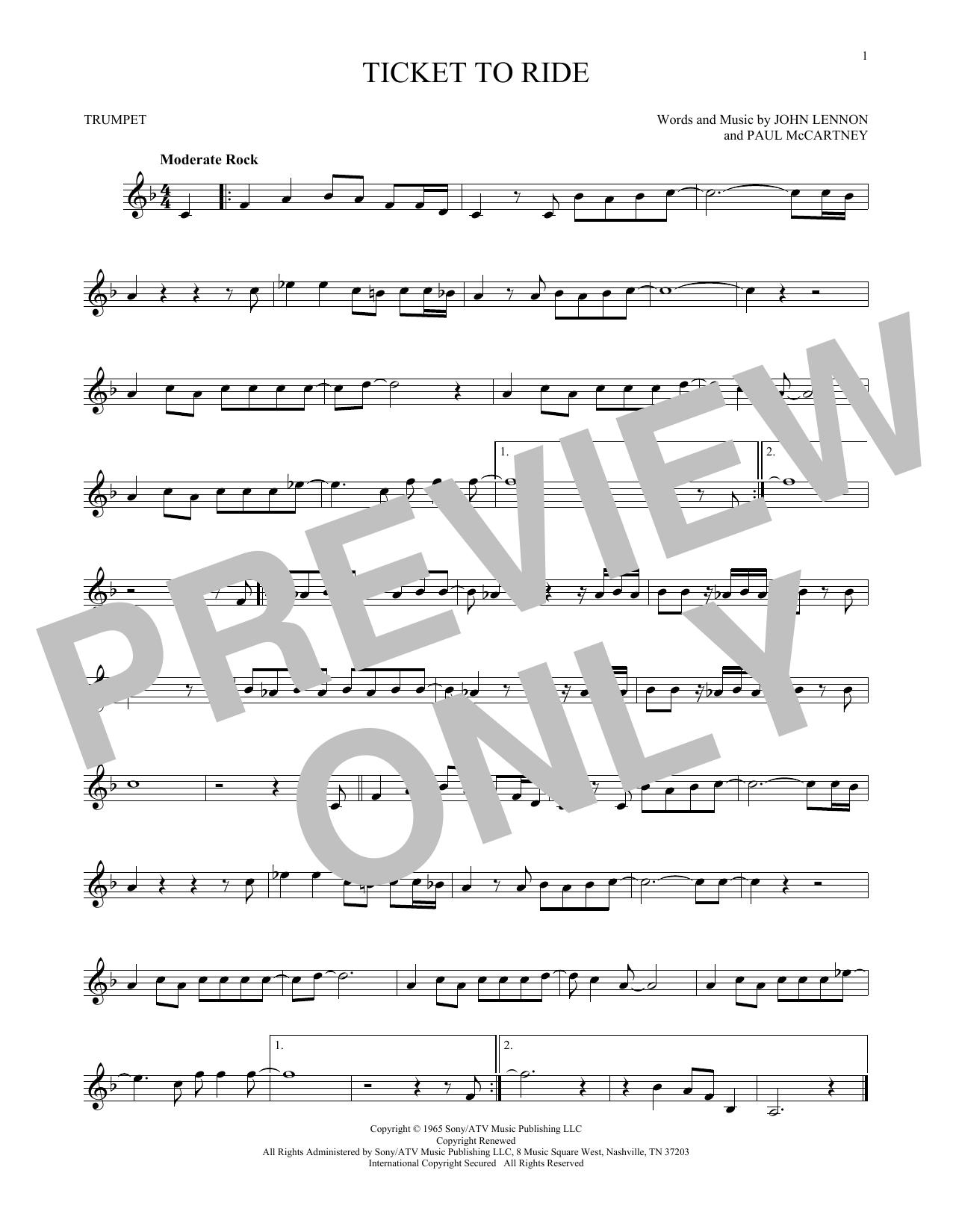 Partition autre Ticket To Ride de The Beatles - Trompette