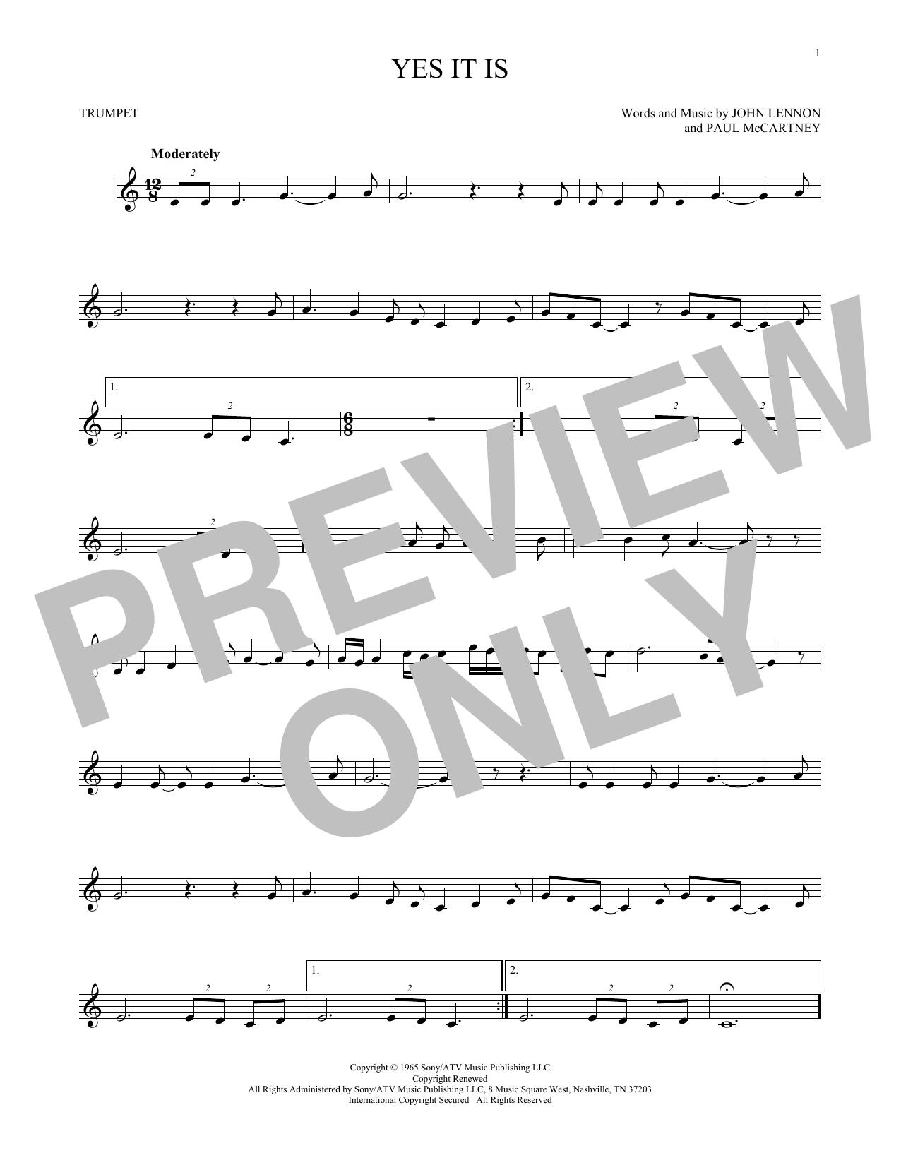 Partition autre Yes It Is de The Beatles - Trompette