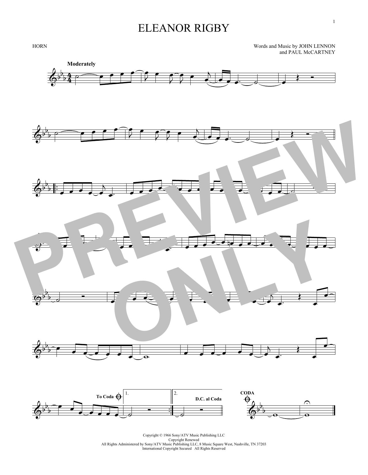 Partition autre Eleanor Rigby de The Beatles - Cor