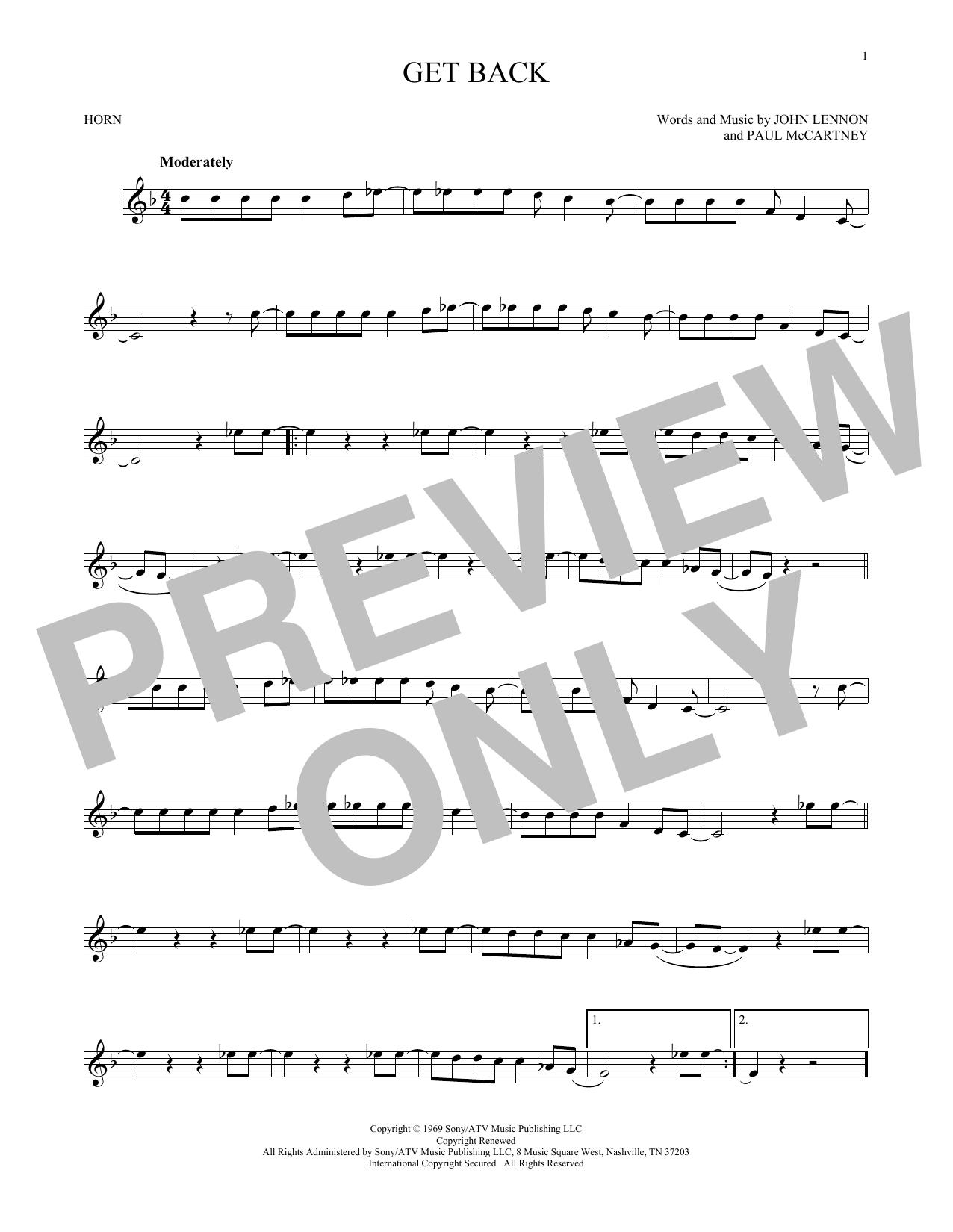 Partition autre Get Back de The Beatles - Cor