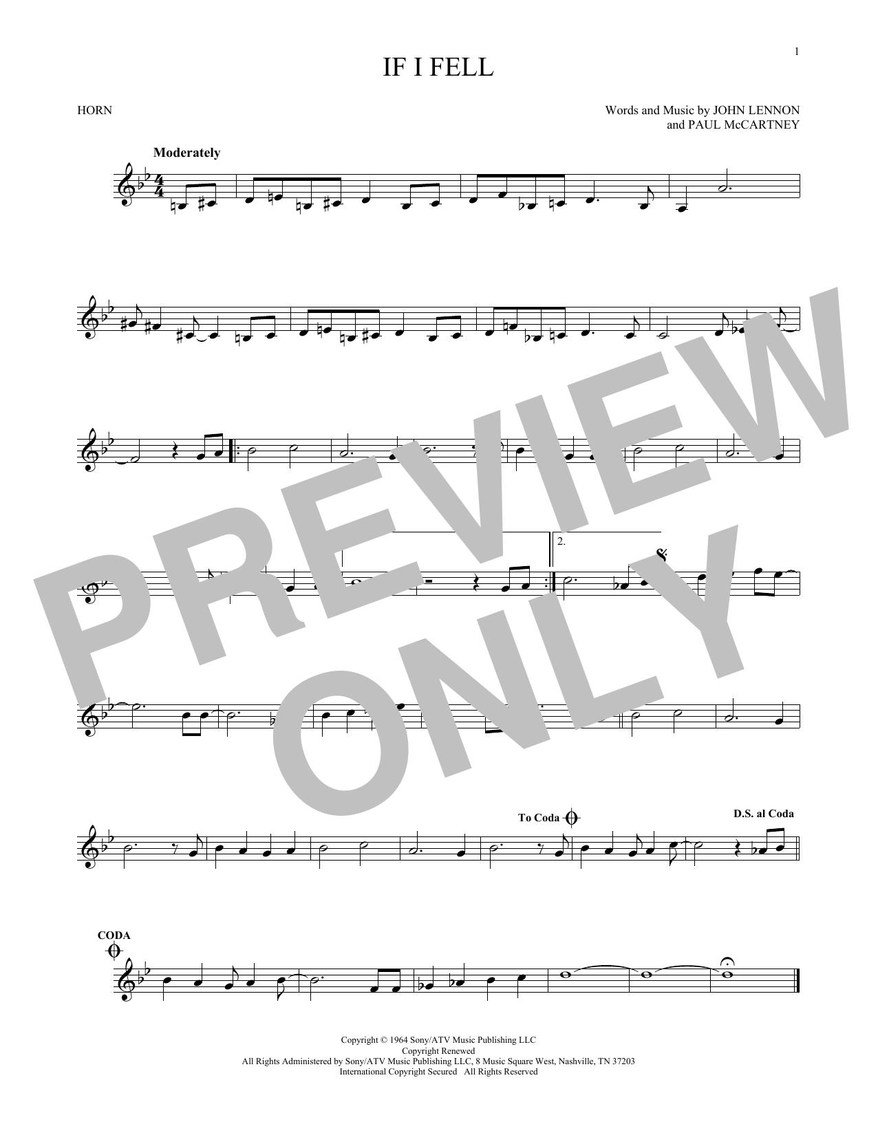 Partition autre If I Fell de The Beatles - Cor