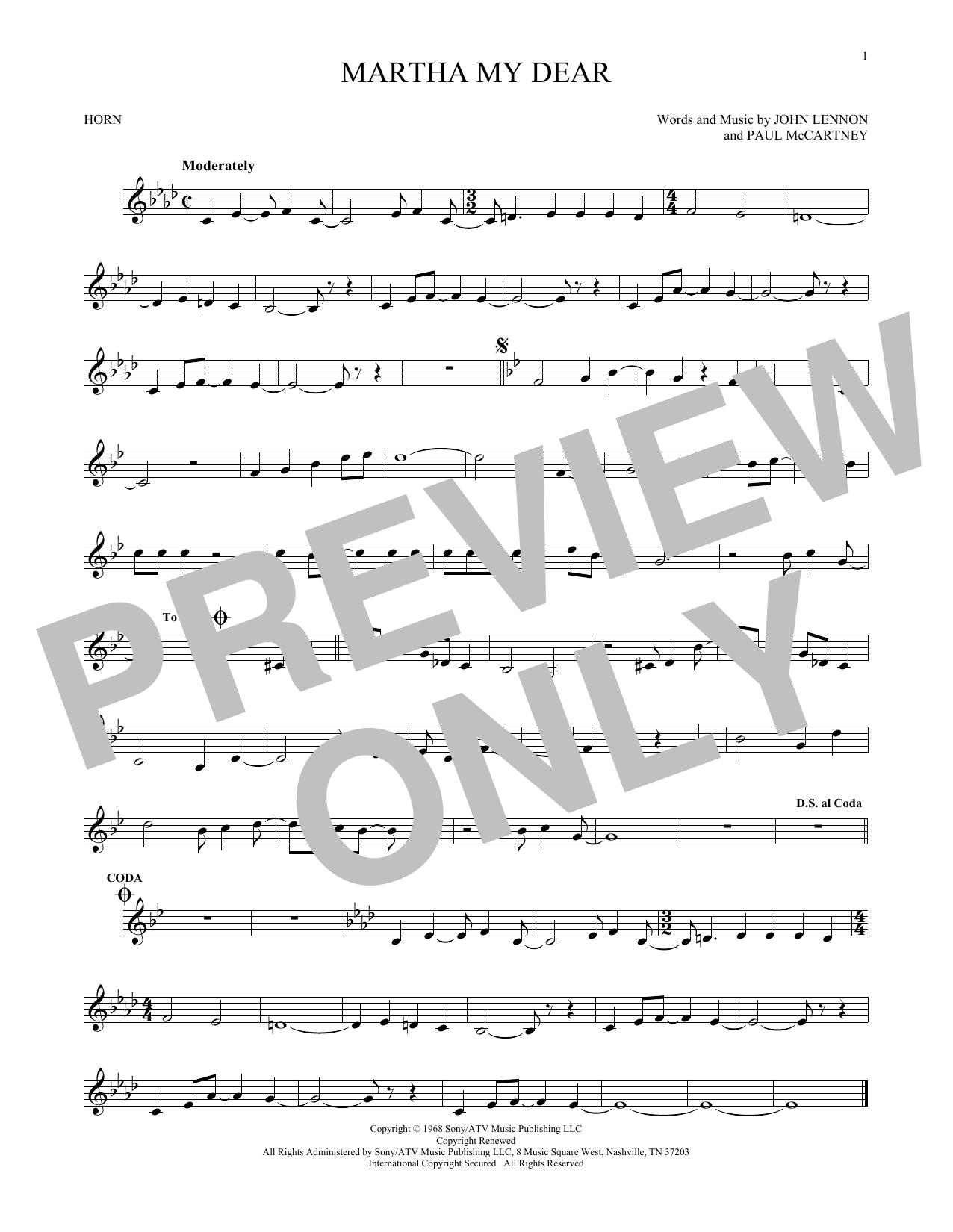 Partition autre Martha My Dear de The Beatles - Cor
