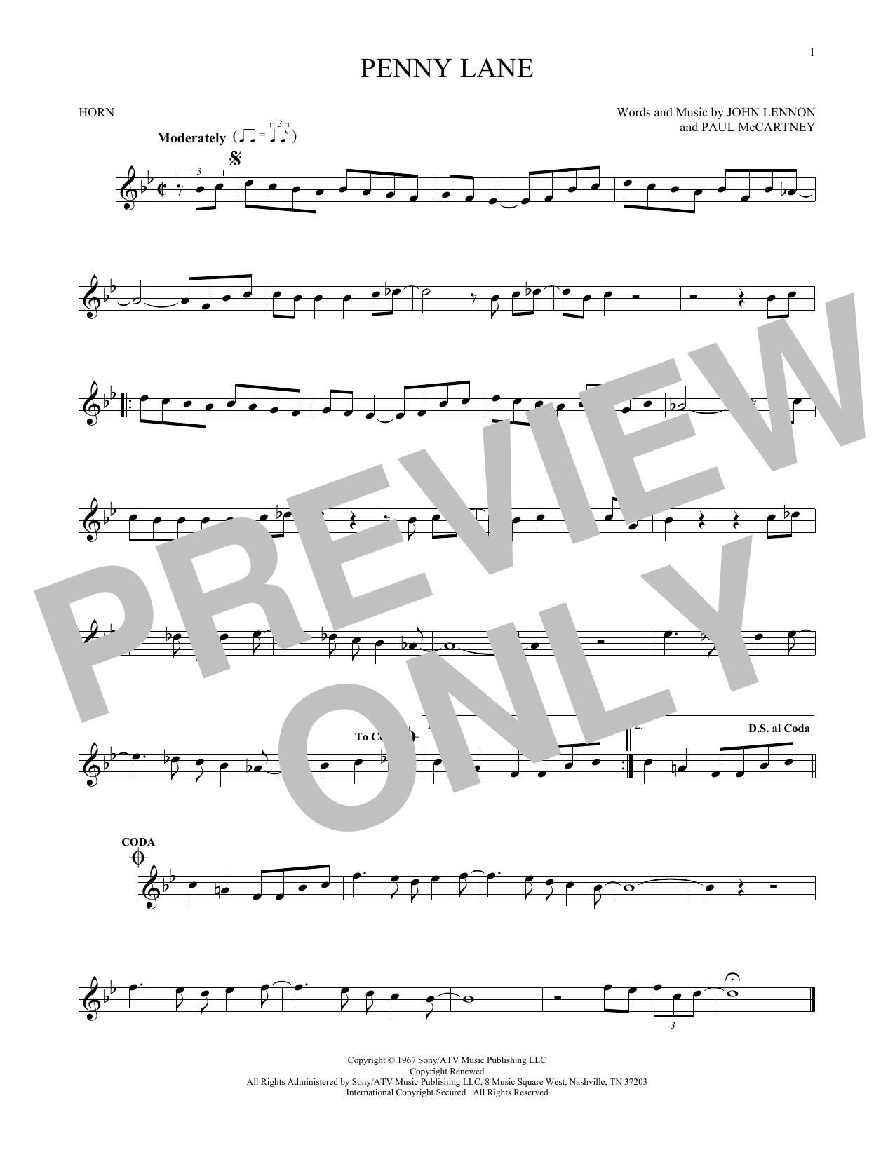 Partition autre Penny Lane de The Beatles - Cor