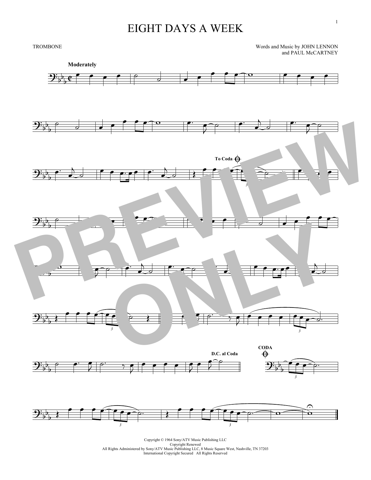 Partition autre Eight Days A Week de The Beatles - Trombone