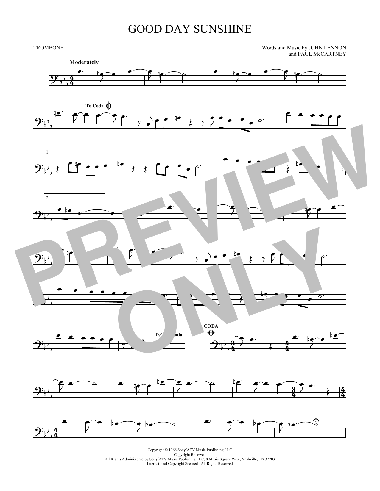 Partition autre Good Day Sunshine de The Beatles - Trombone