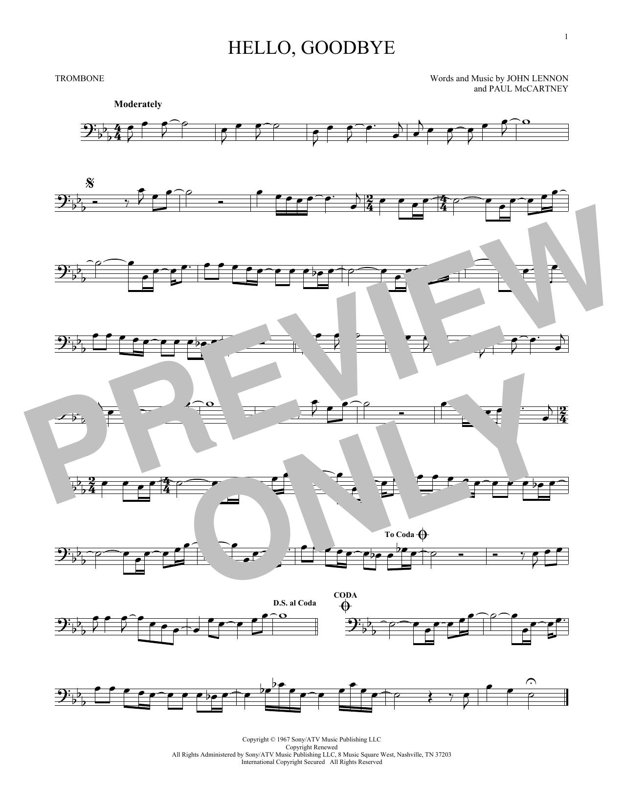 Partition autre Hello, Goodbye de The Beatles - Trombone