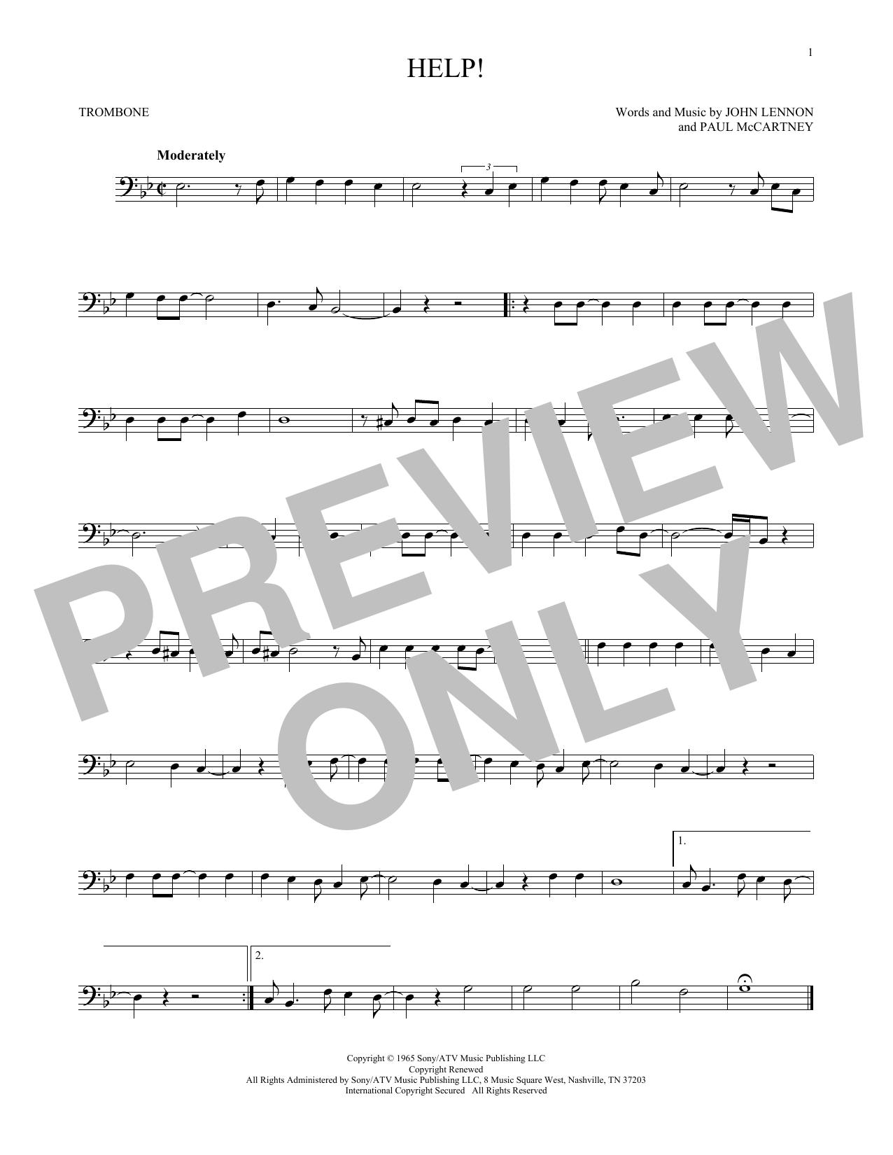 Partition autre Help! de The Beatles - Trombone
