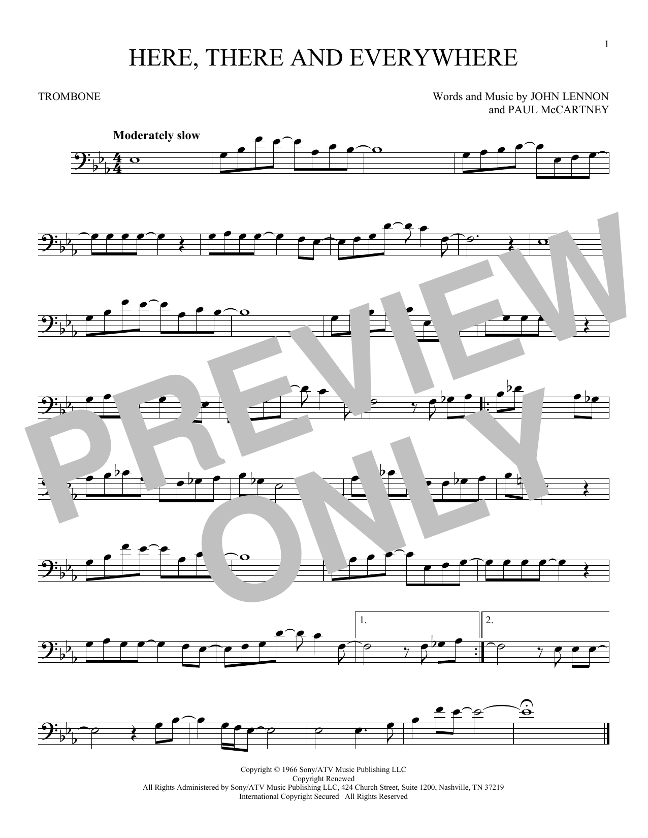 Partition autre Here, There And Everywhere de The Beatles - Trombone