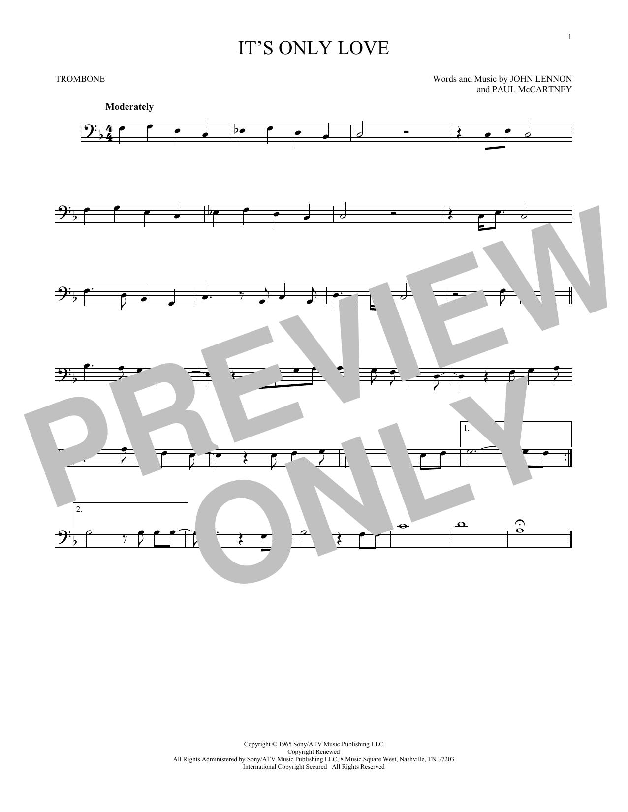 Partition autre It's Only Love de The Beatles - Trombone