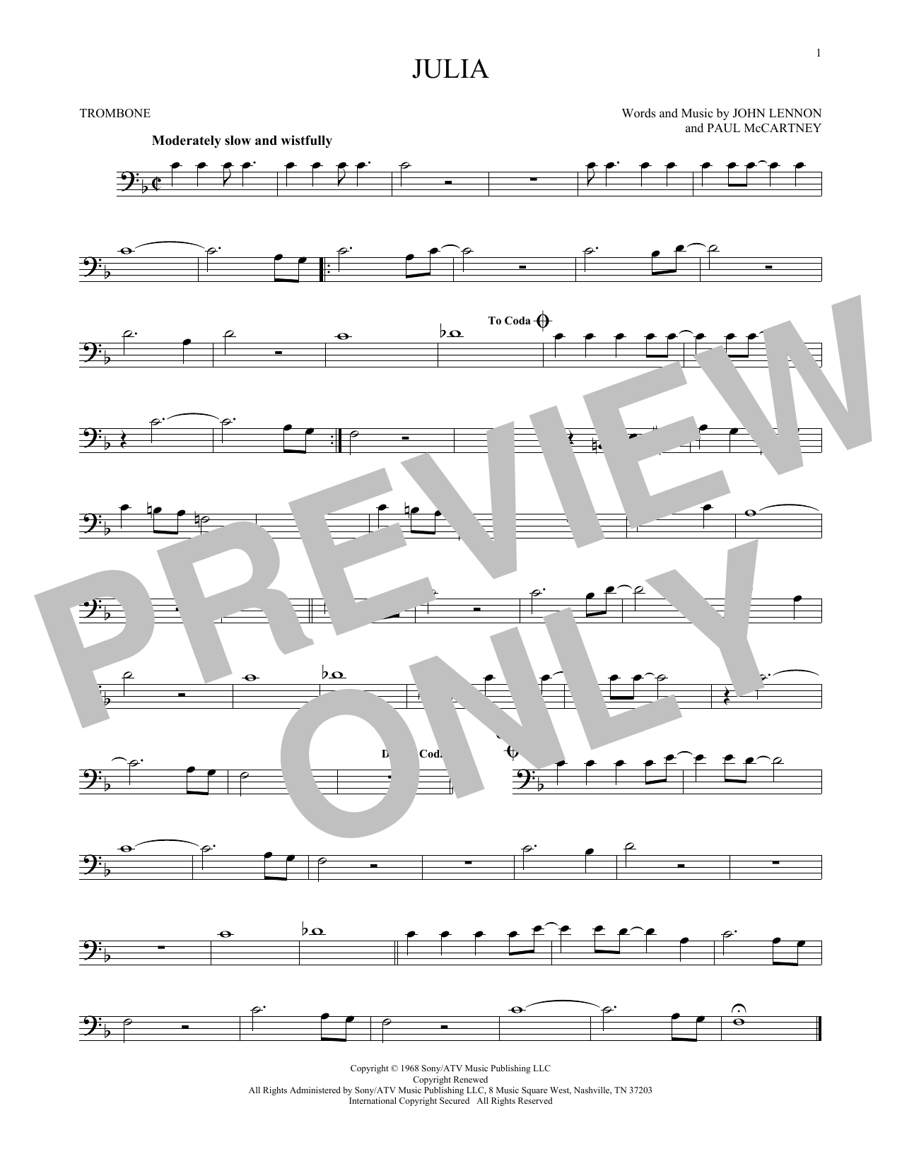 Partition autre Julia de The Beatles - Trombone