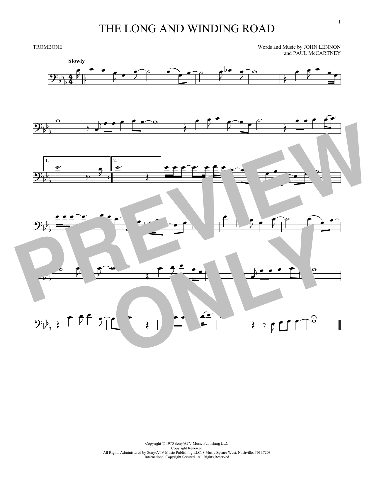 Partition autre The Long And Winding Road de The Beatles - Trombone