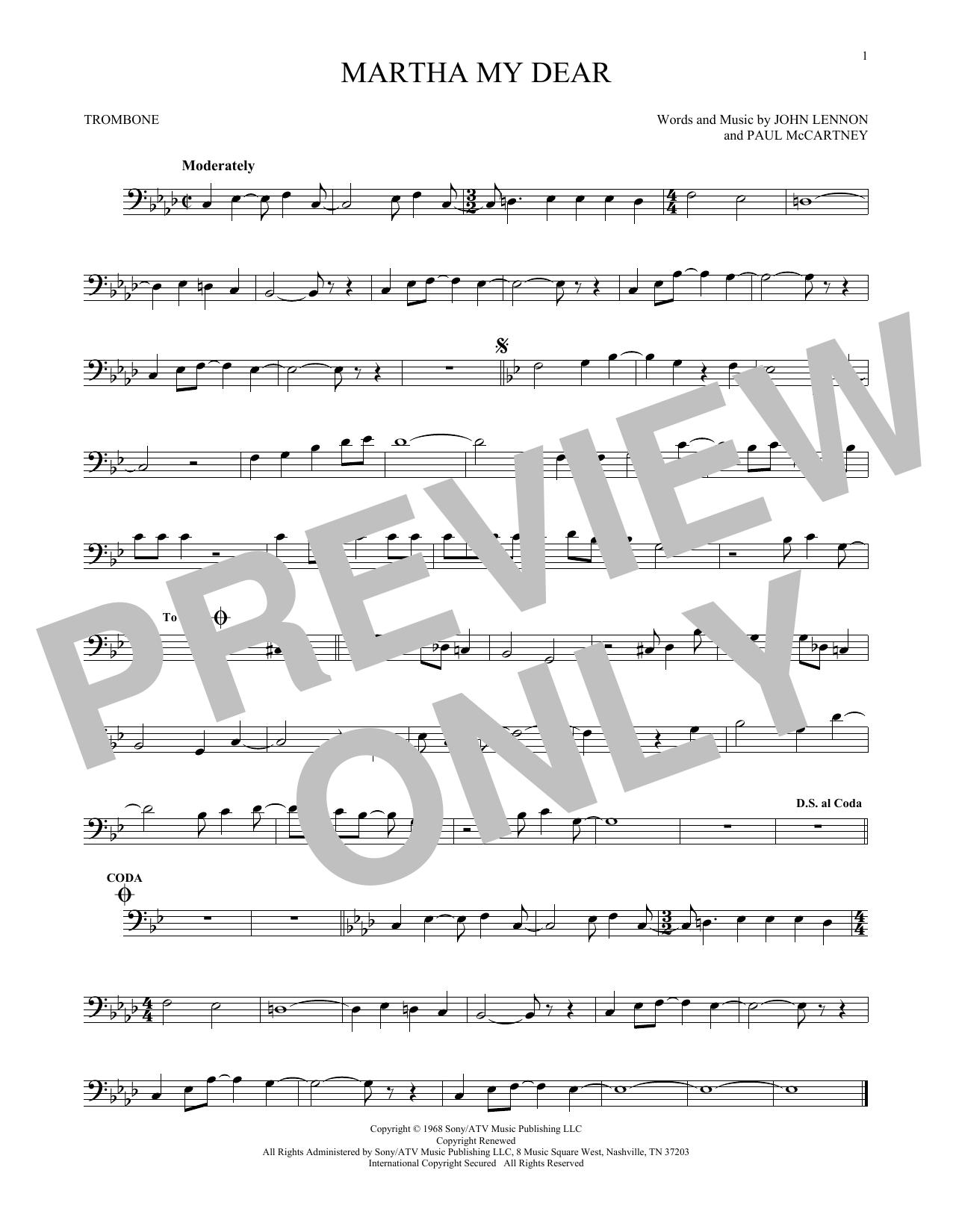Partition autre Martha My Dear de The Beatles - Trombone