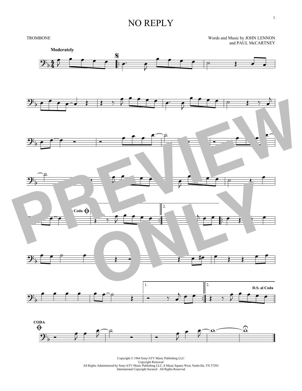 Partition autre No Reply de The Beatles - Trombone