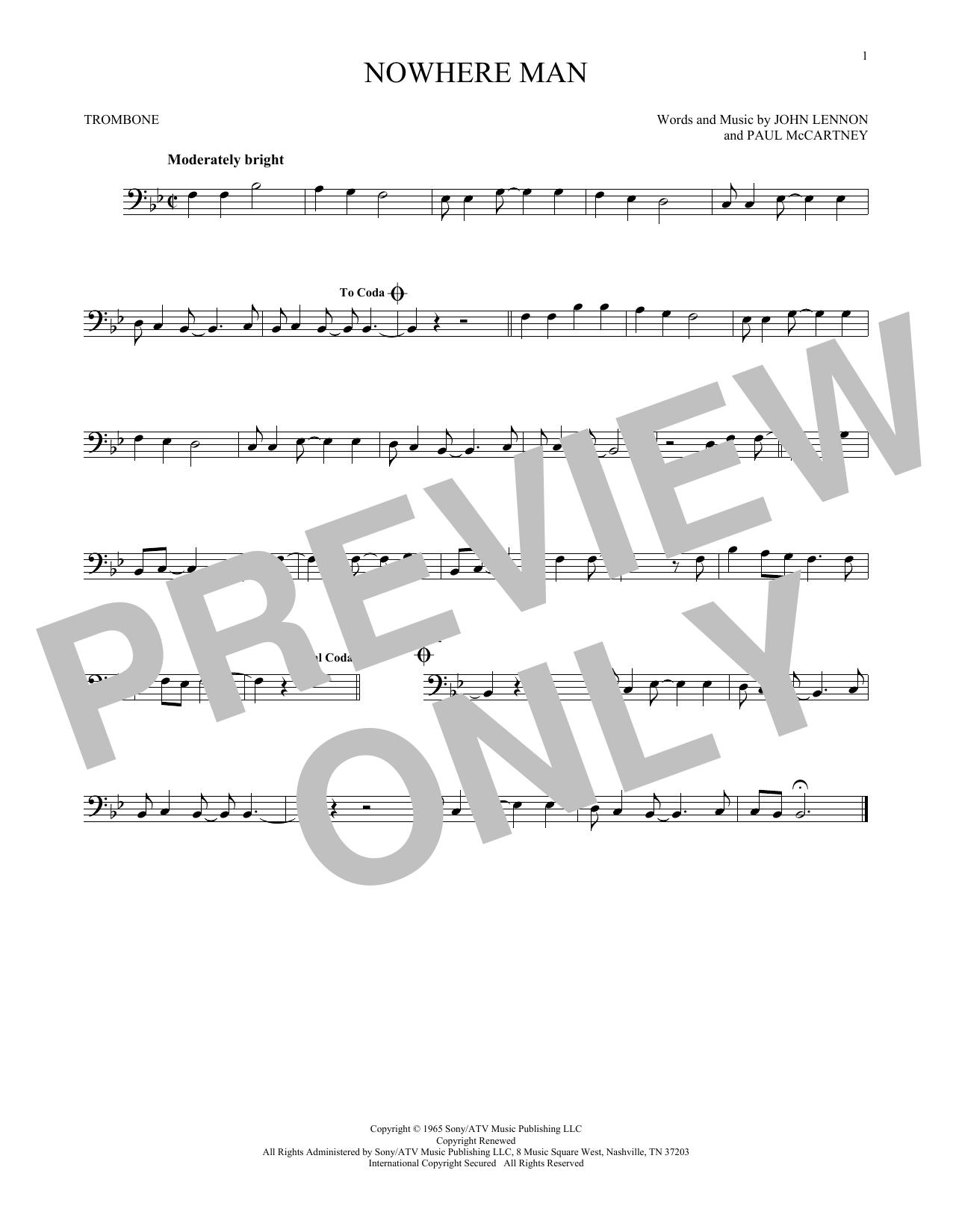 Partition autre Nowhere Man de The Beatles - Trombone