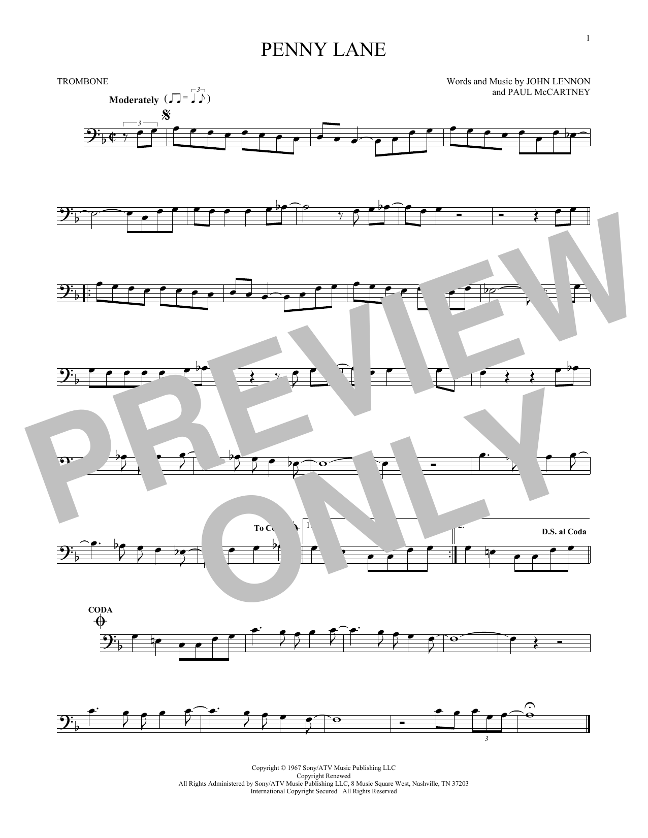 Partition autre Penny Lane de The Beatles - Trombone