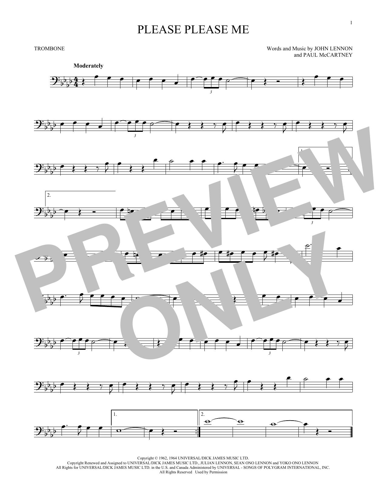 Partition autre Please Please Me de The Beatles - Trombone