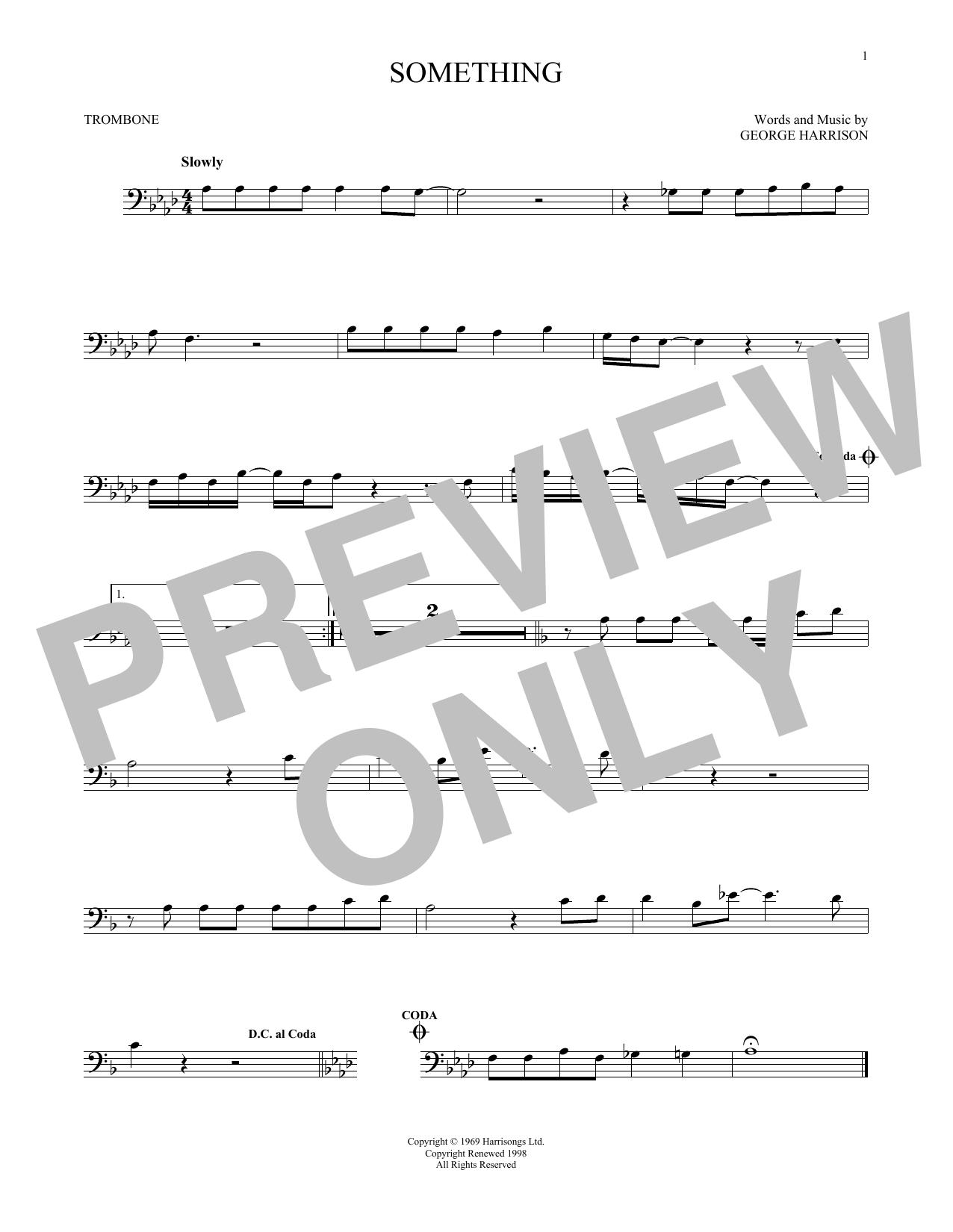 Partition autre Something de The Beatles - Trombone