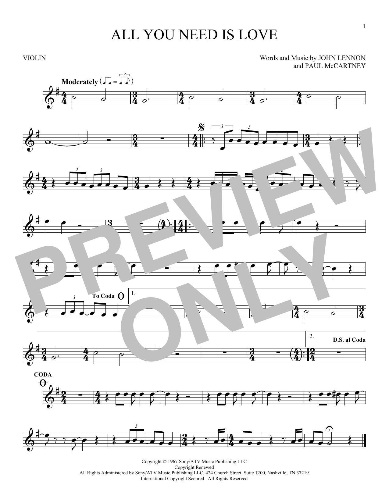 Partition autre All You Need Is Love de The Beatles - Violon