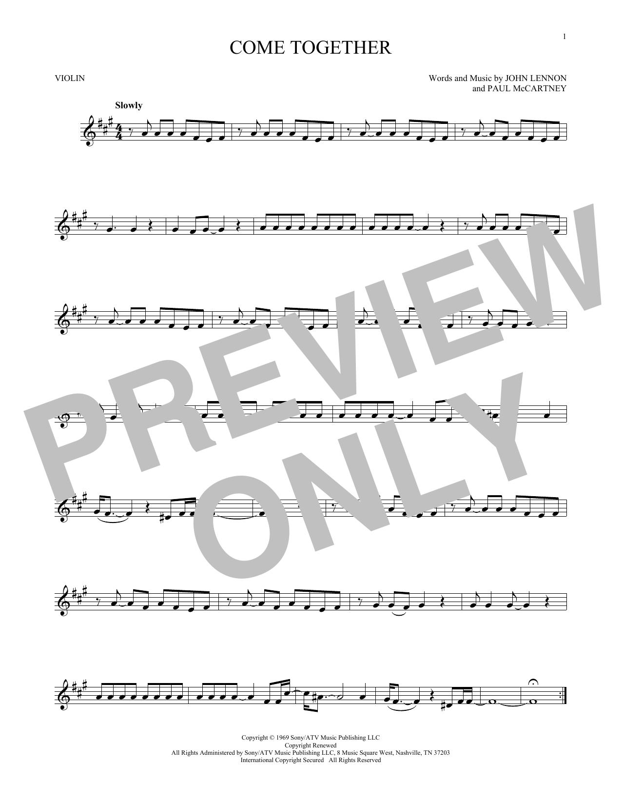 Partition autre Come Together de The Beatles - Violon