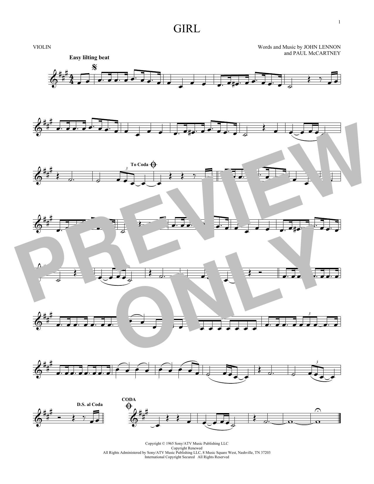 Partition autre Girl de The Beatles - Violon