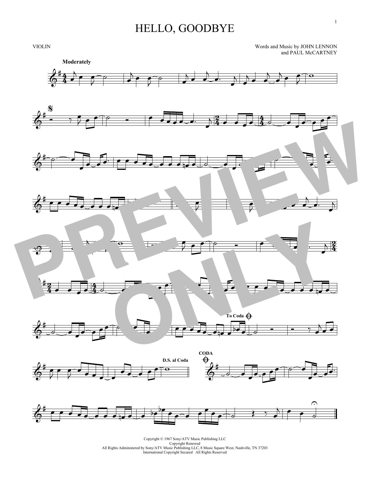 Partition autre Hello, Goodbye de The Beatles - Violon
