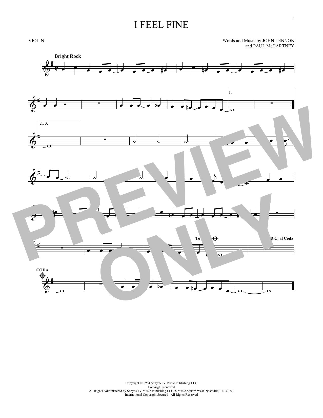 Partition autre I Feel Fine de The Beatles - Violon