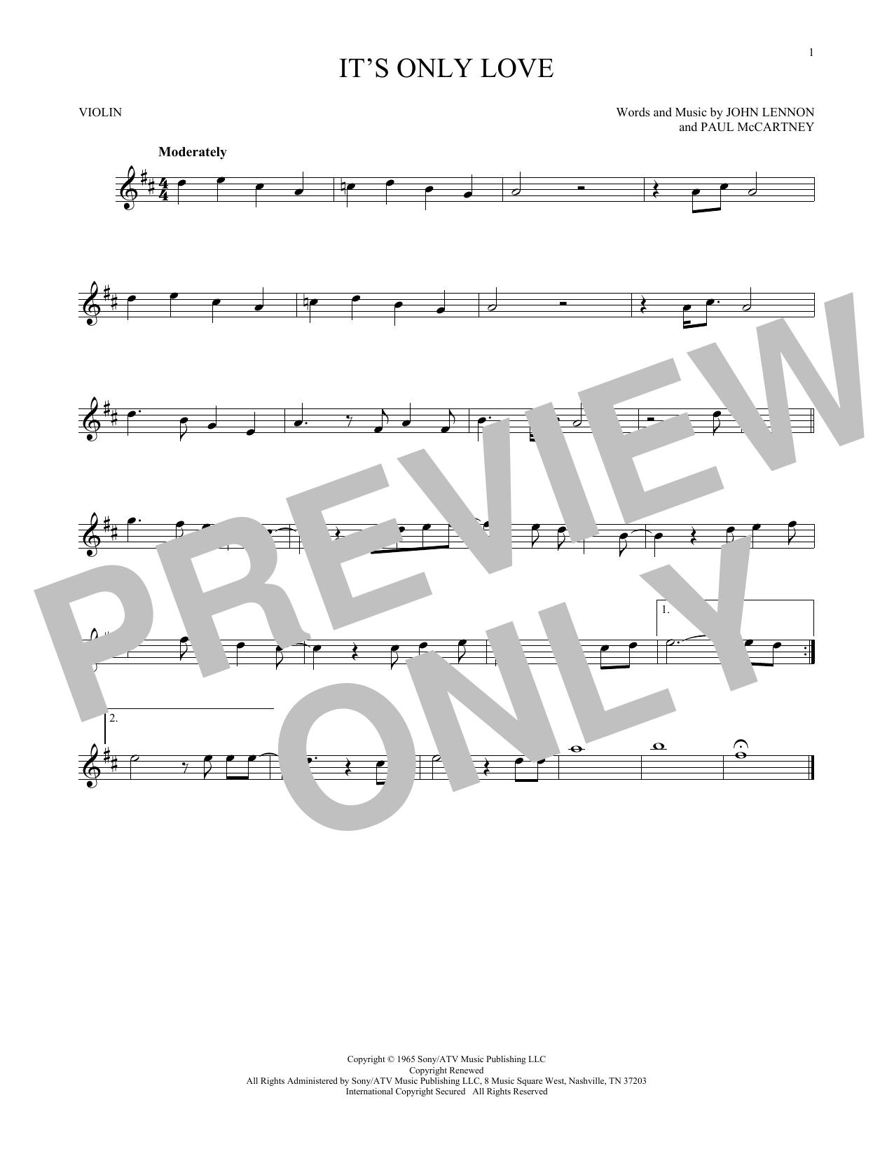 Partition autre It's Only Love de The Beatles - Violon